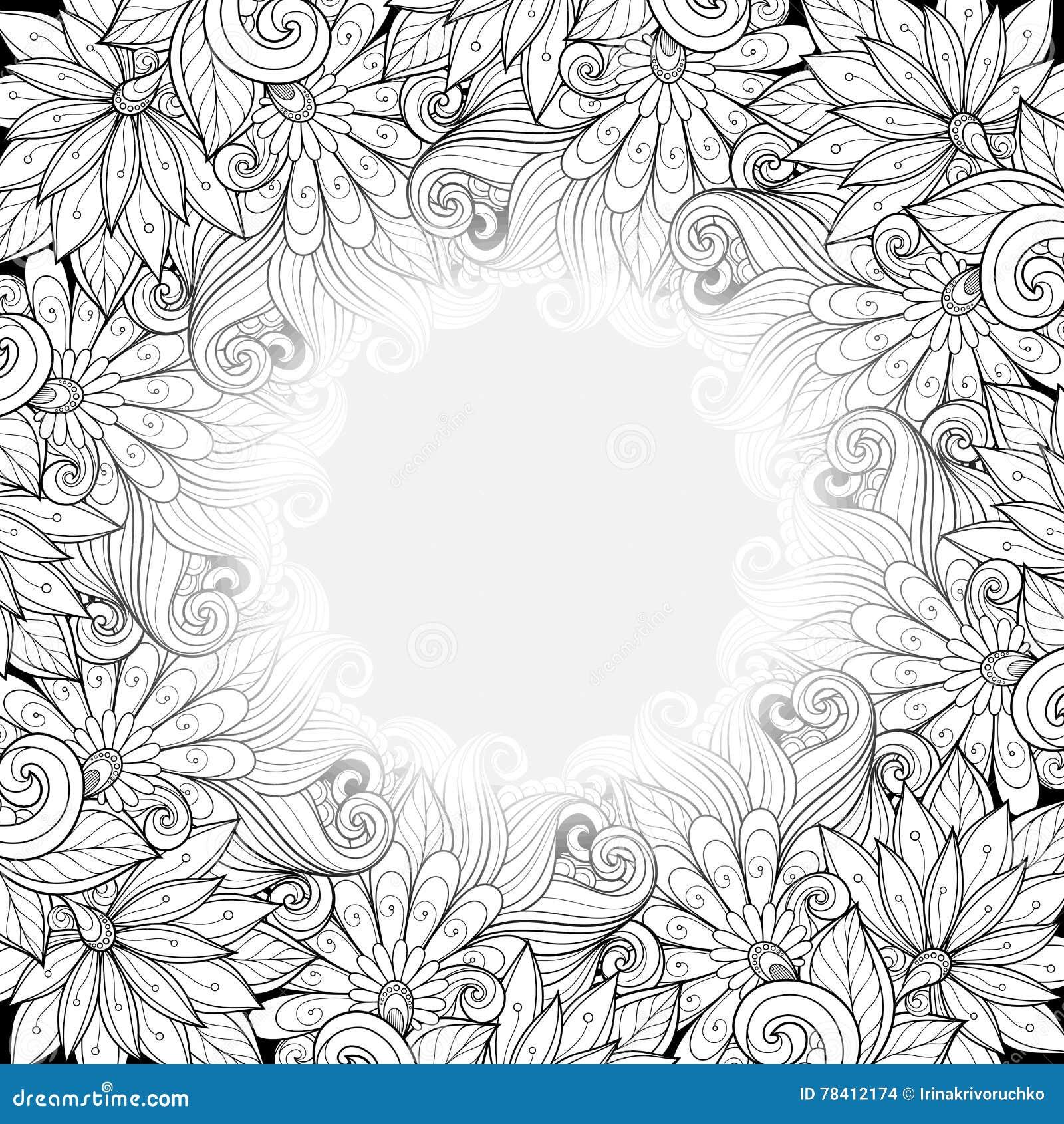 与地方的传染媒介单色花卉模板文本的