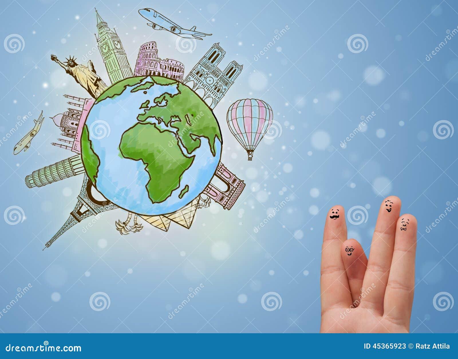 与地球的著名地标的快乐的手指面带笑容