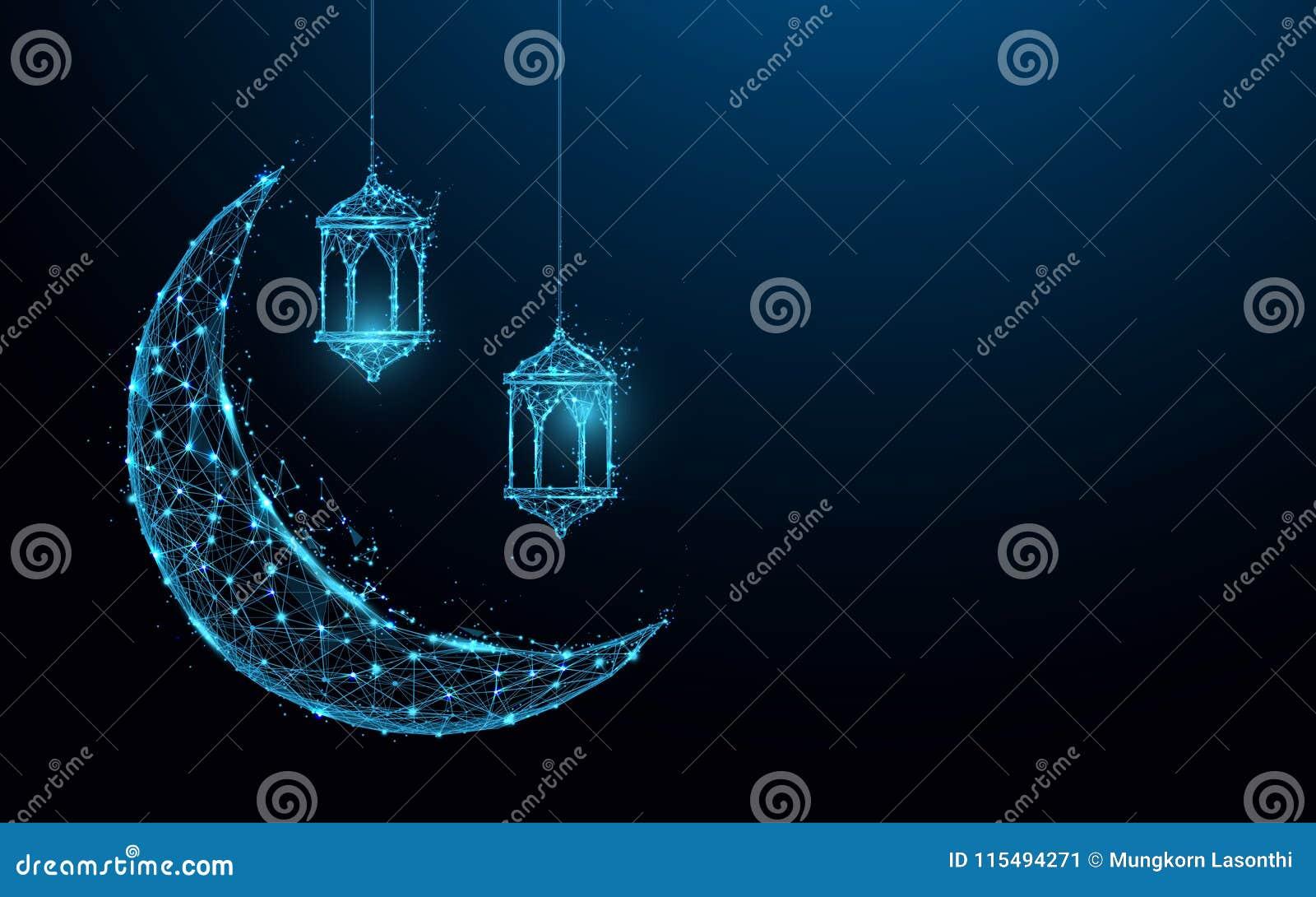 与垂悬的灯伊斯兰教的节日概念形式线和三角,在蓝色背景的点连接的网络的新月形月亮