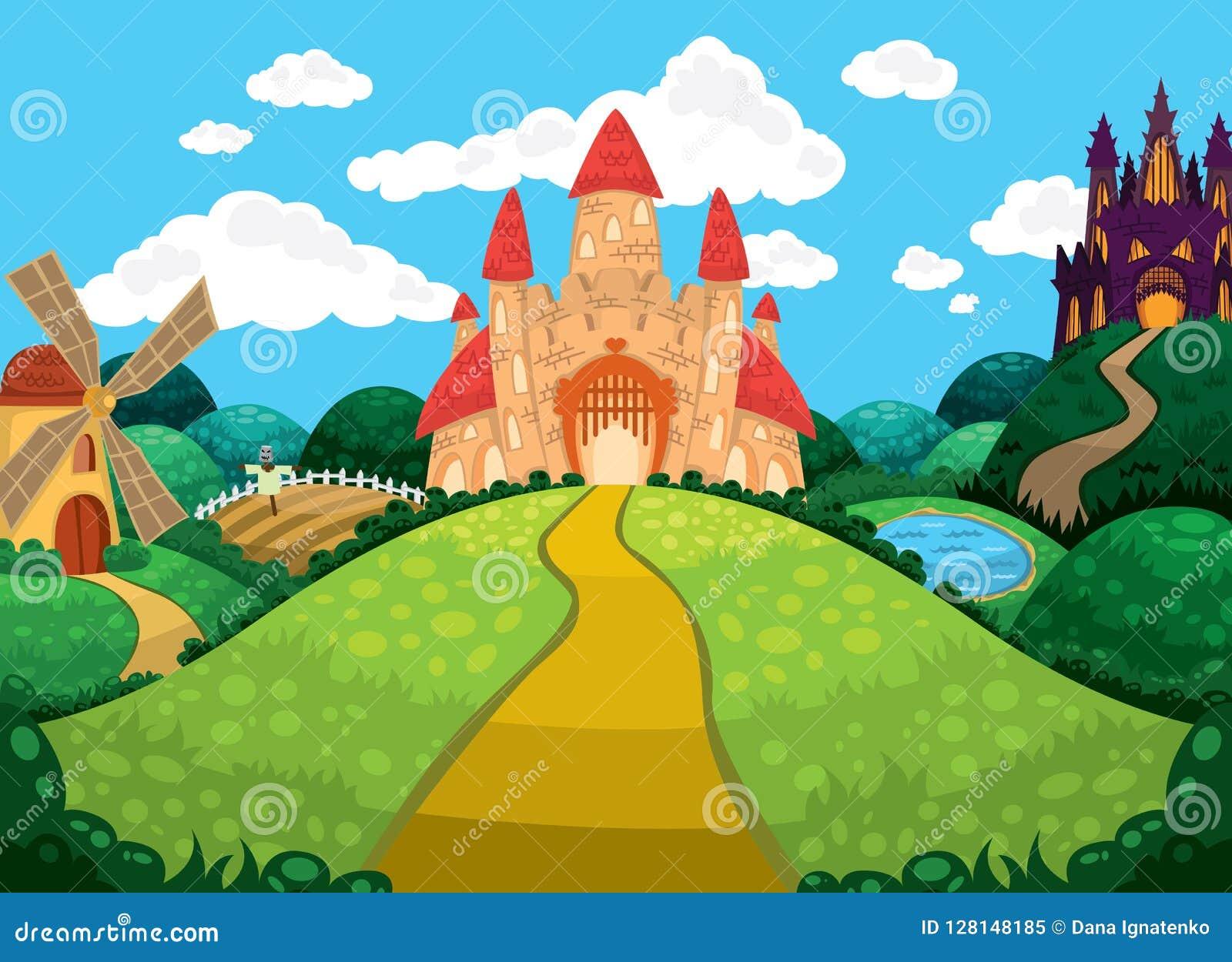 与城堡、池塘、磨房和领域的美好的背景