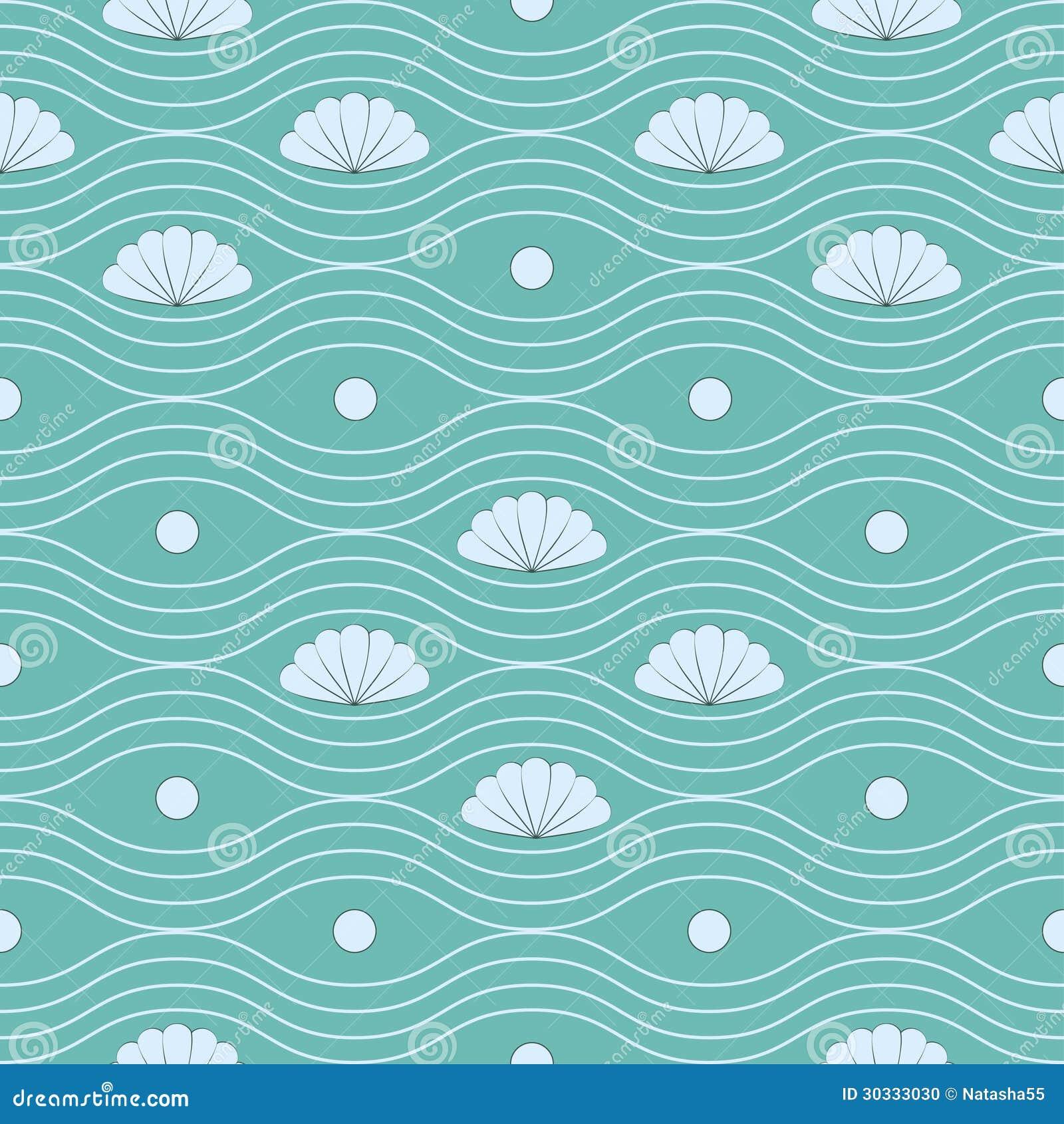 与壳和波浪线的无缝的样式