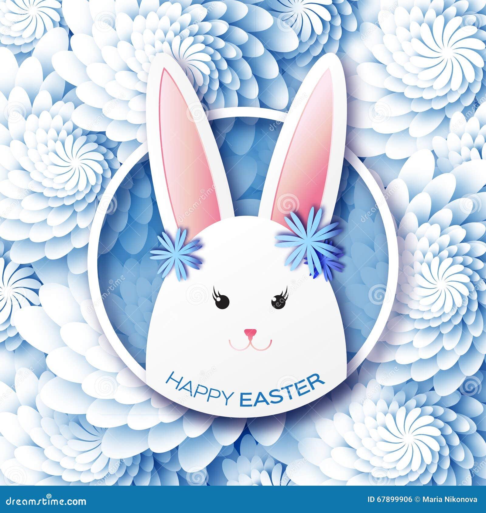 与复活节快乐的白色蓝色贺卡-用白色复活节兔子