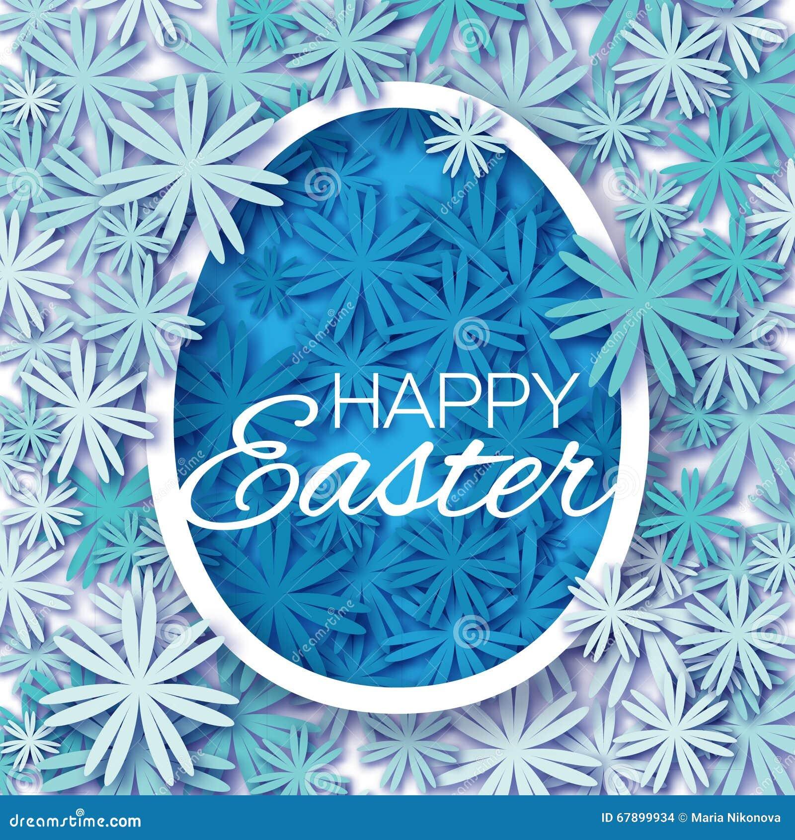 与复活节快乐的贺卡-用在白色背景的蓝色花复活节彩蛋