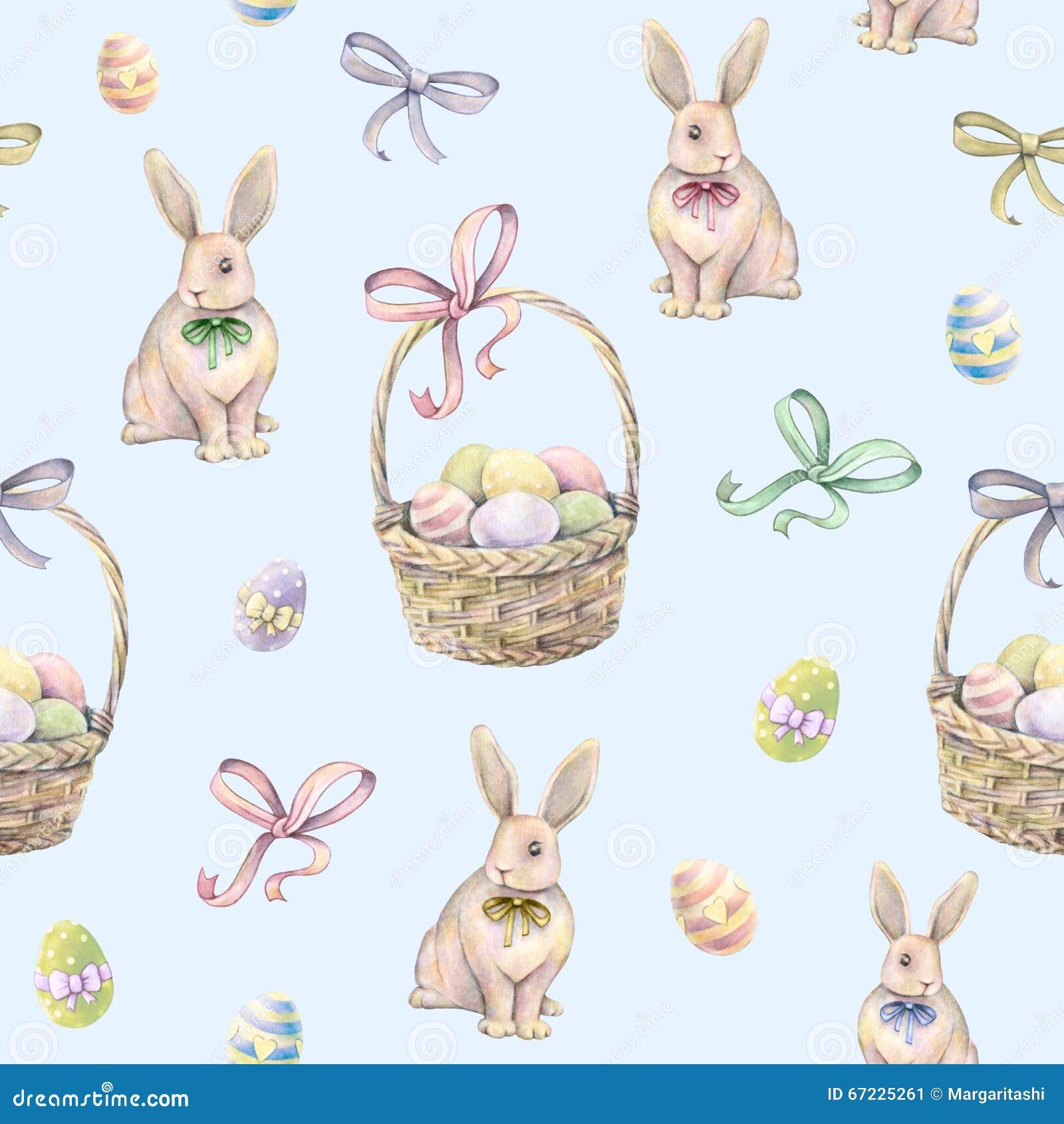 与复活节篮子的兔子在蓝色背景 颜色复活节彩蛋 画开花的河结构树水彩绕的银行 手工 无缝的模式