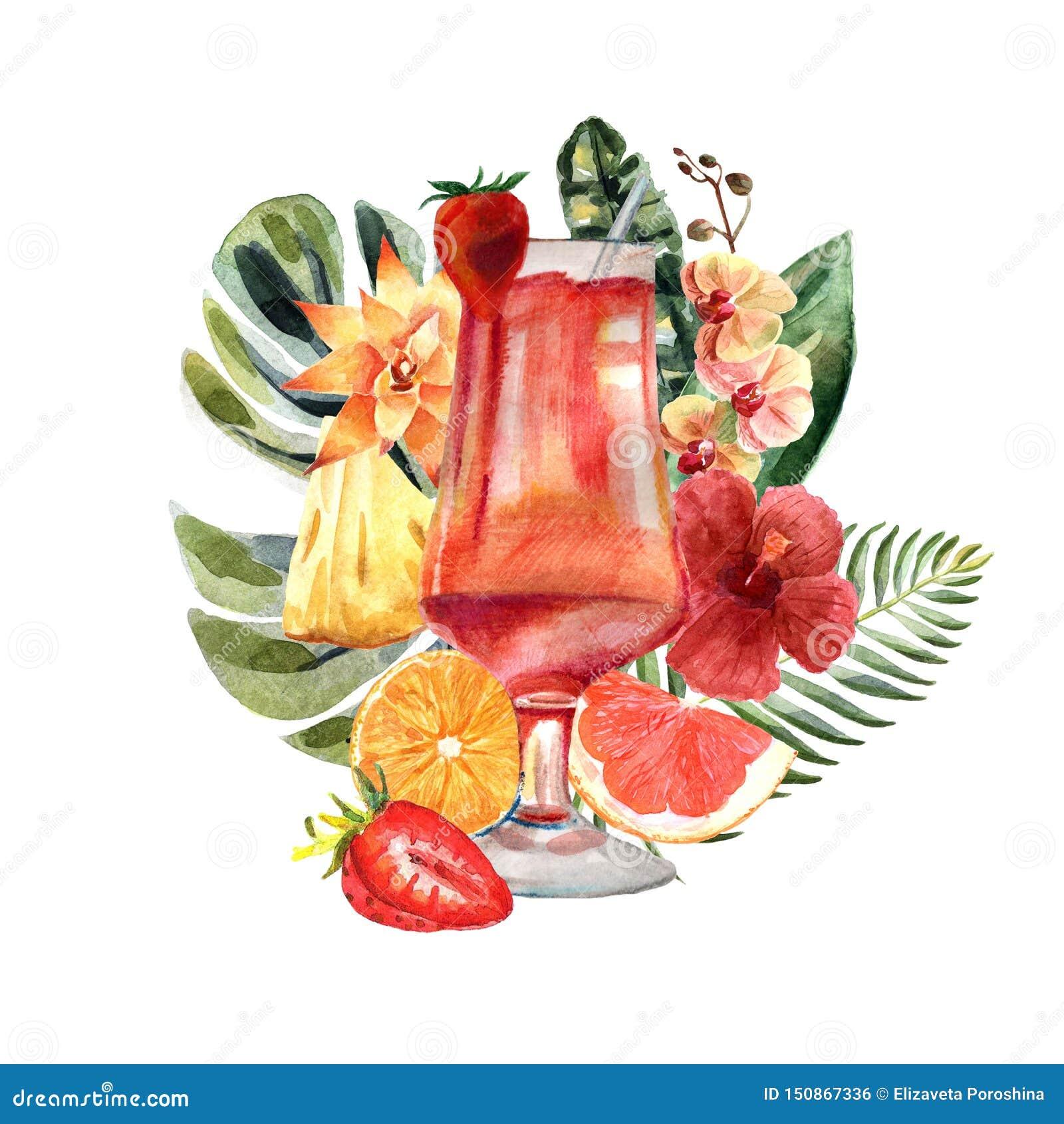与夏天鸡尾酒、果子和花的水彩热带例证