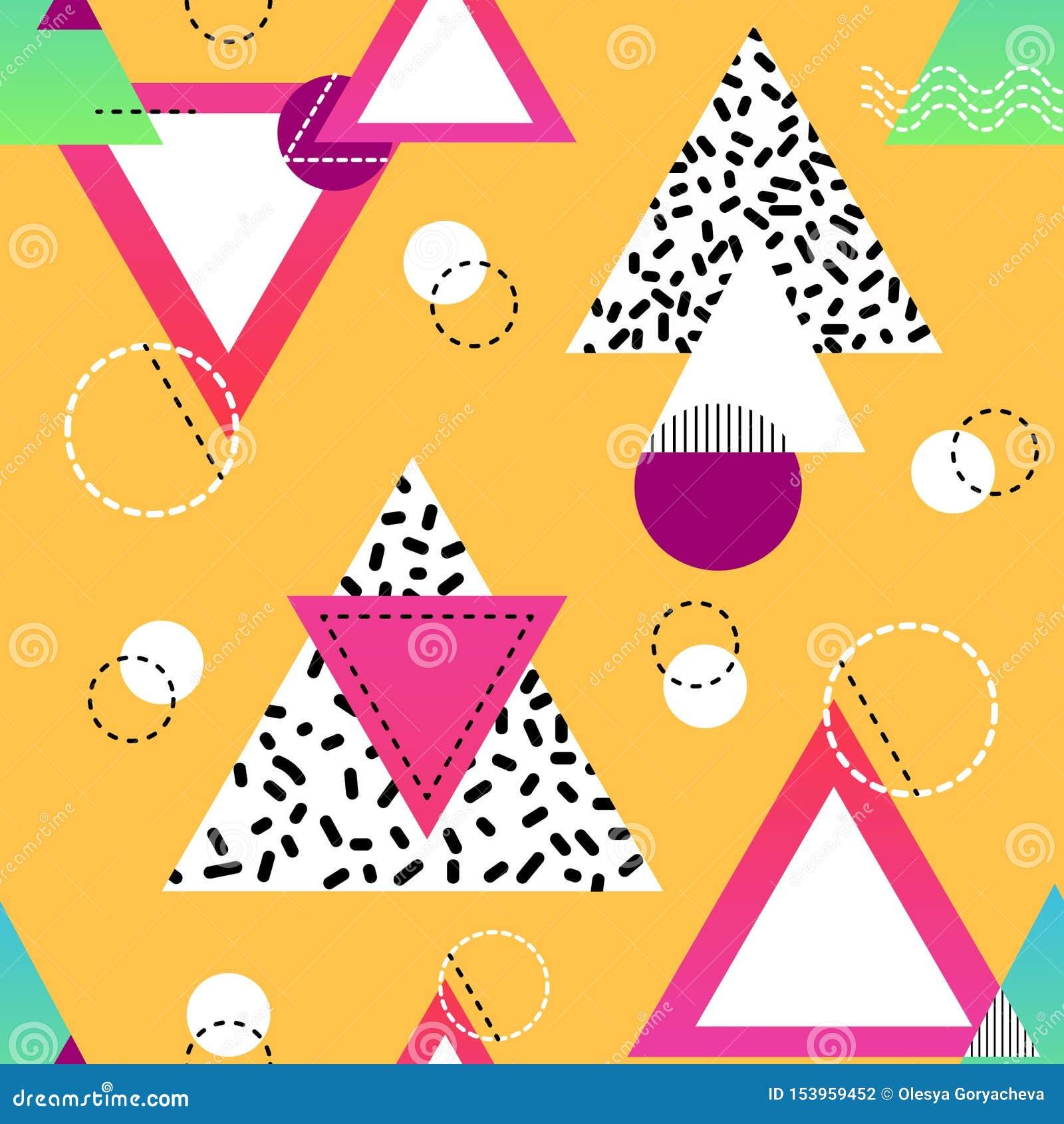 与多彩多姿的三角和圈子的Minimalistic无缝的样式 在黑,白色的几何形状,桃红色和蓝色