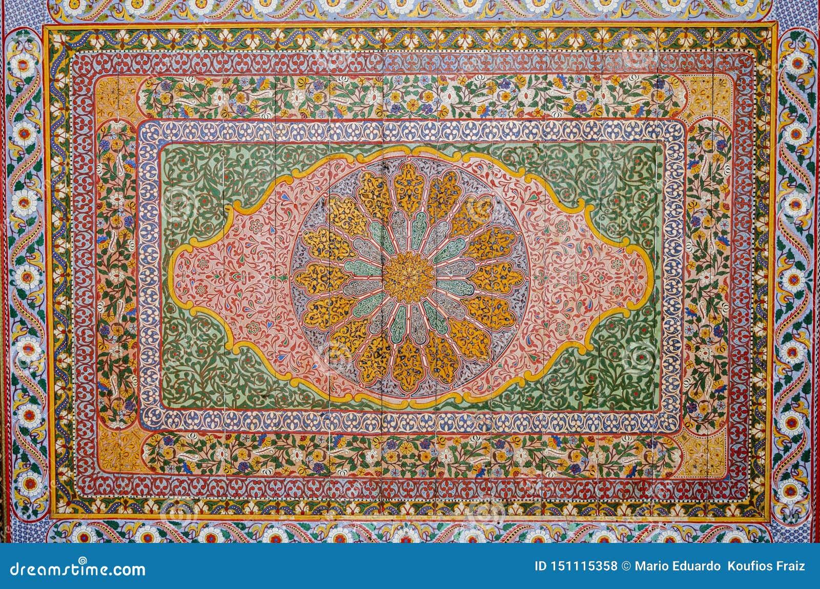 与多彩多姿的叶子和花的摩洛哥蔓藤花纹工艺 马拉喀什摩洛哥
