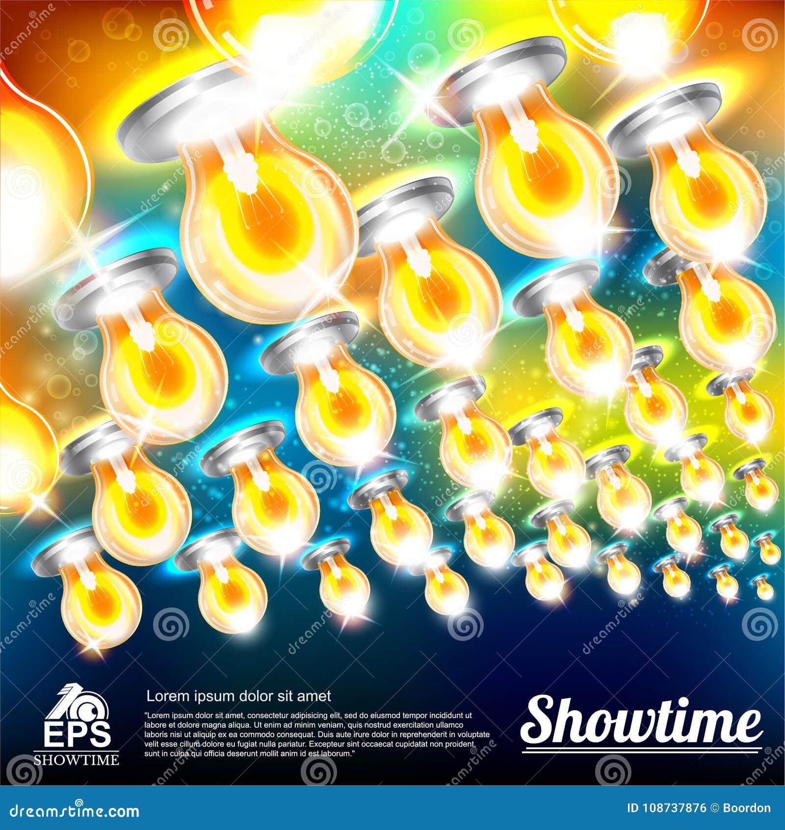 与多彩多姿的电灯泡的抽象明亮的背景