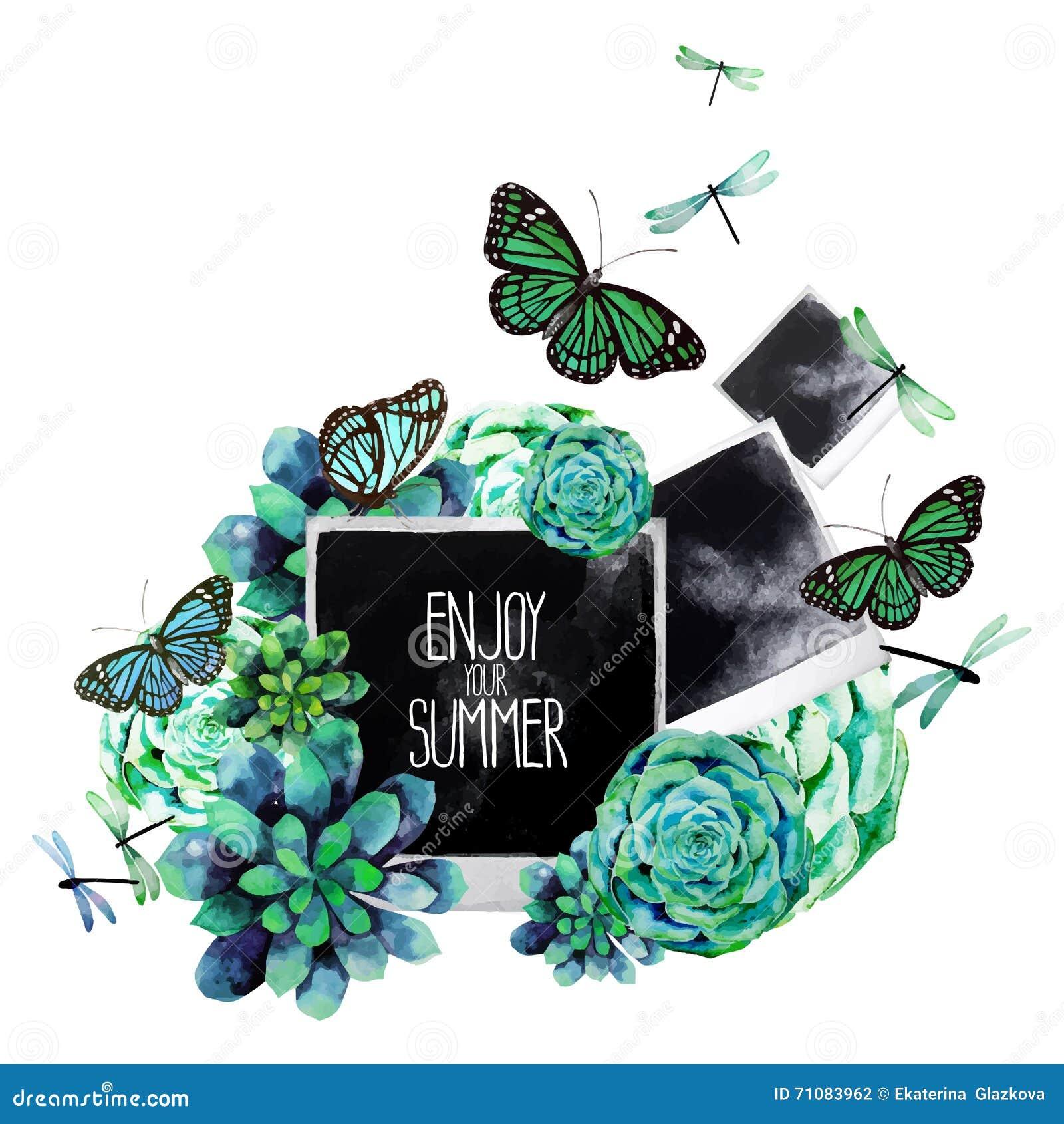 与多汁植物和照片的水彩设计