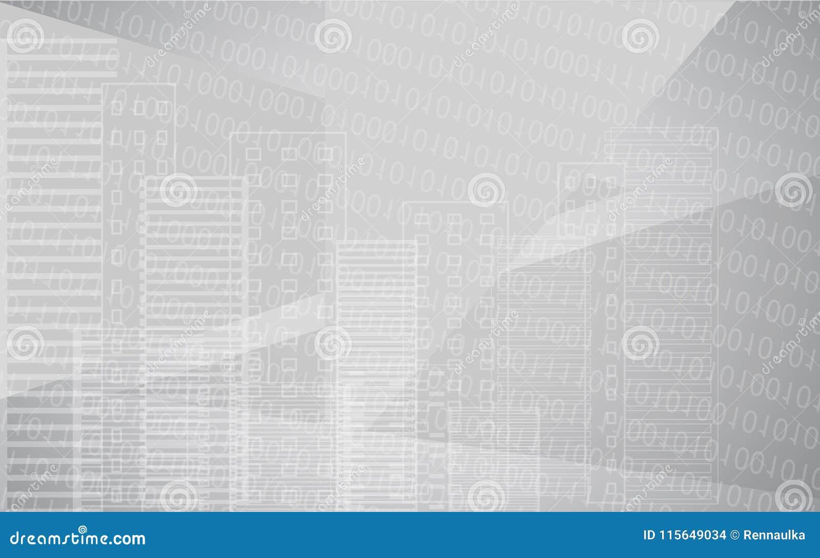 与大厦的传染媒介白色灰色城市背景 背景桥梁工程城市时钟连接前景法兰克福德国包括跨过街道结构的使并列的现代缩小的老部分步行场面摩天大楼耸立二 有二进制编码的大摩天大楼全景 技术设计
