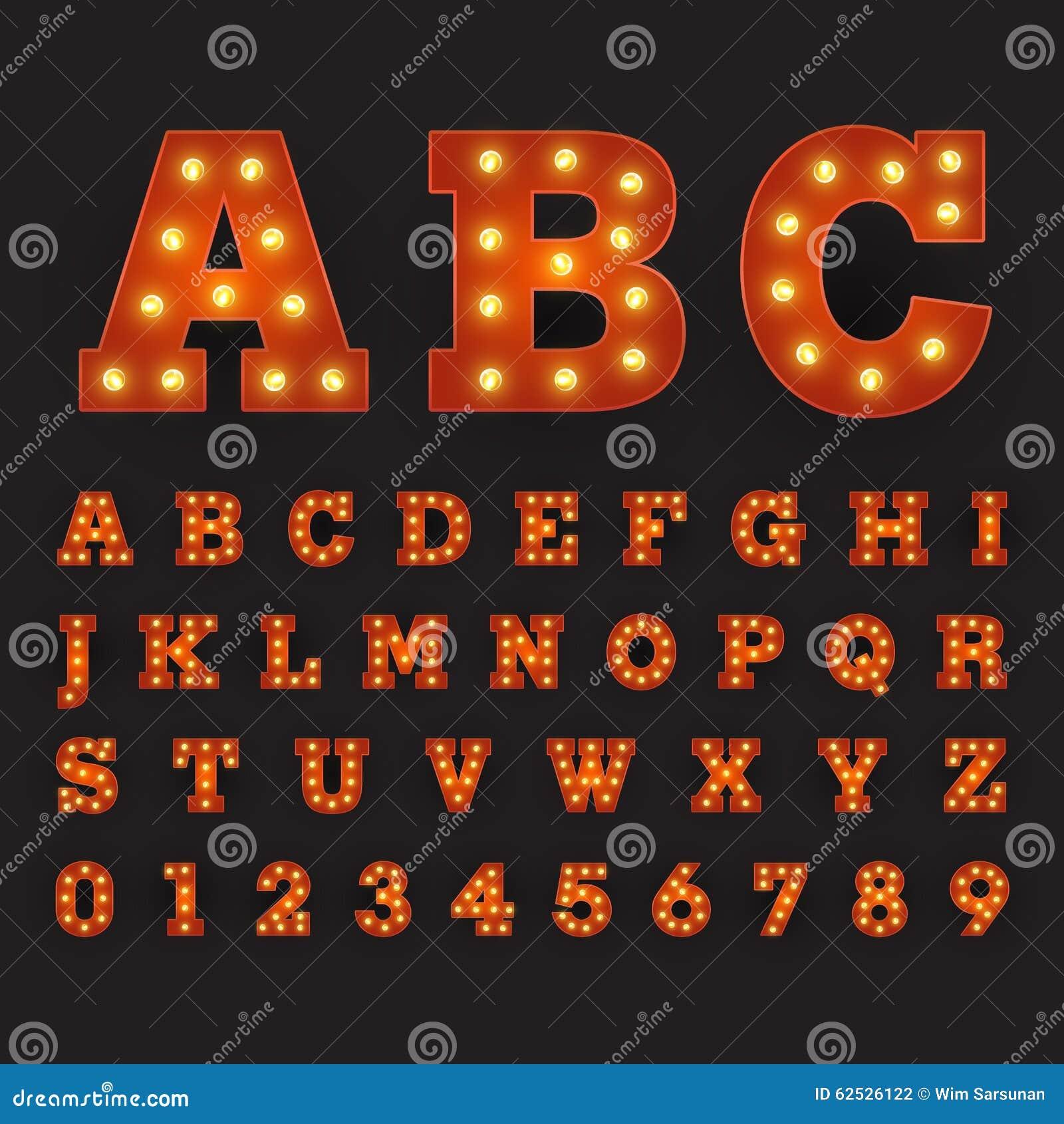 与大圆的电灯泡的按字母顺序的字体狂欢节样式