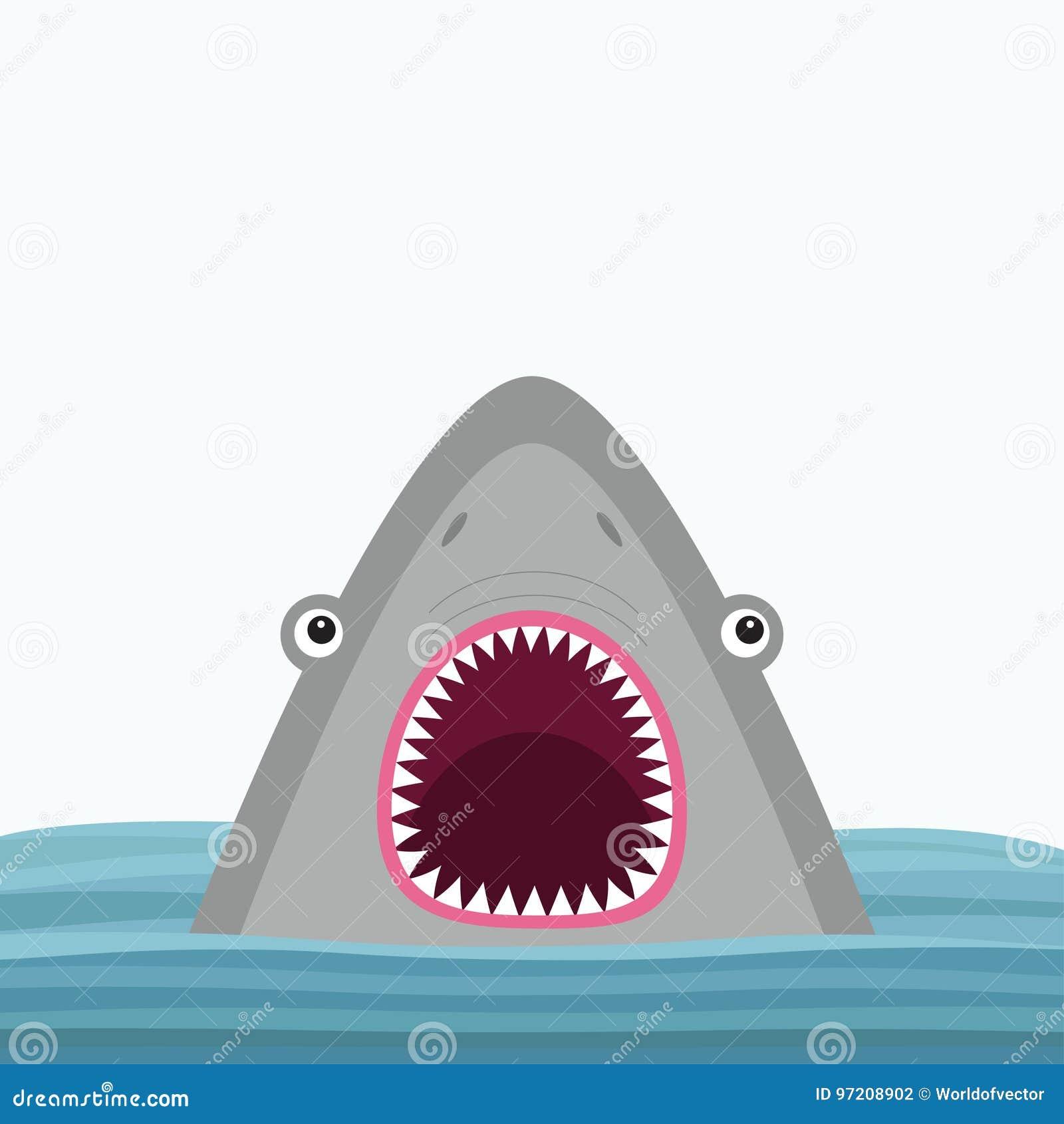 与大开放嘴和锋利的牙齿的鲨鱼顶头面孔 逗人喜爱的动画片动物字符 到达婴孩看板卡乐趣例证 海海洋野生动物 水波