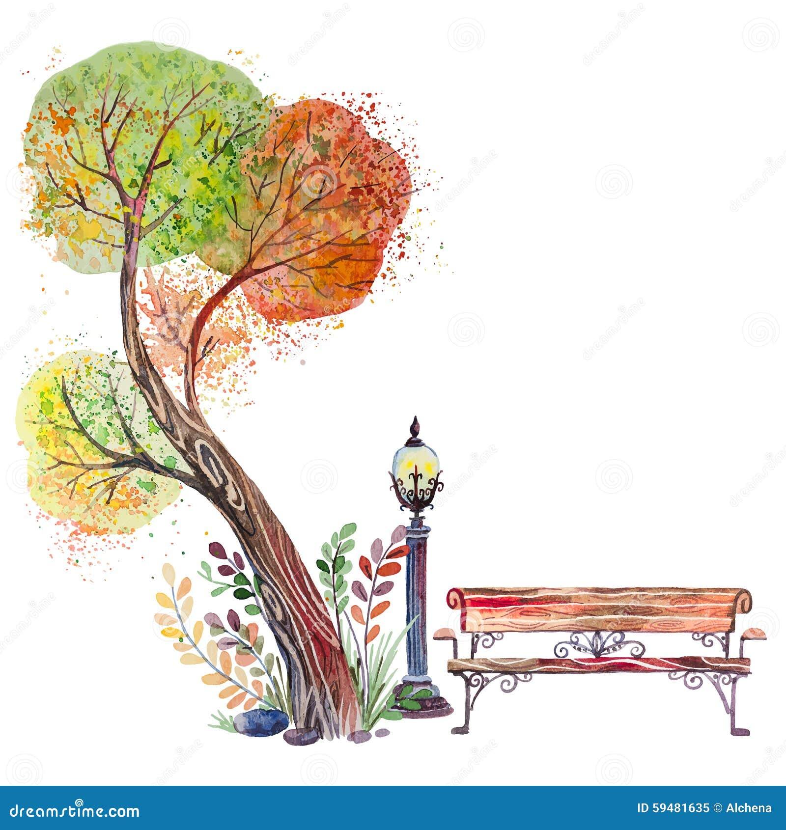 与大树的秋天背景图片
