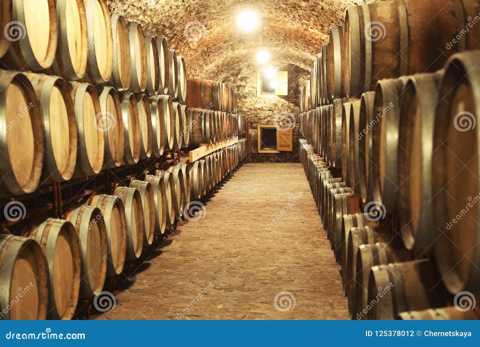 与大桶的葡萄酒库内部