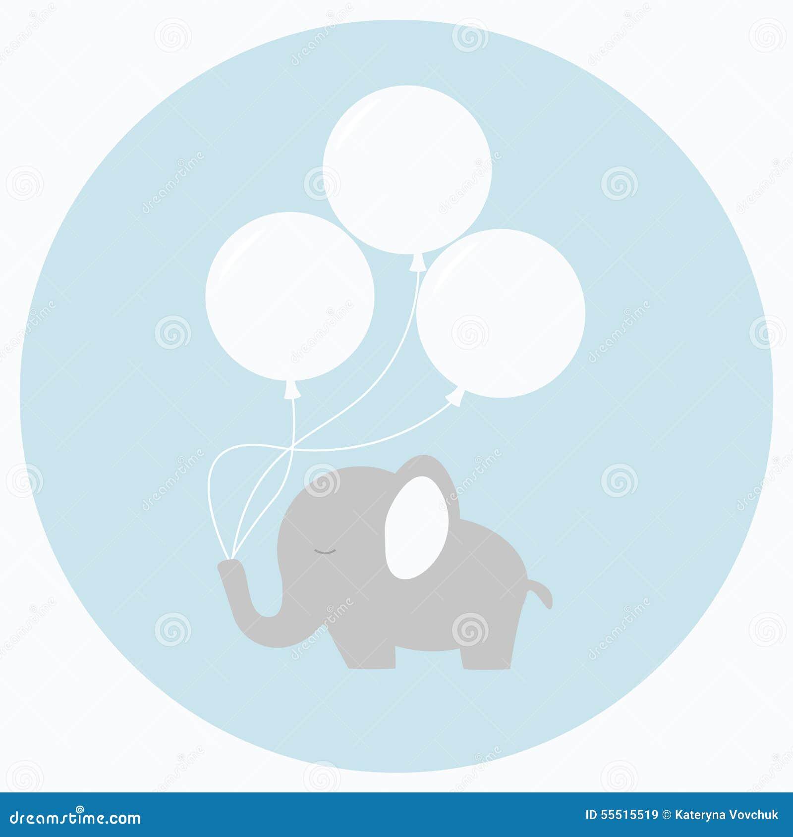 与大气球的小的婴孩大象