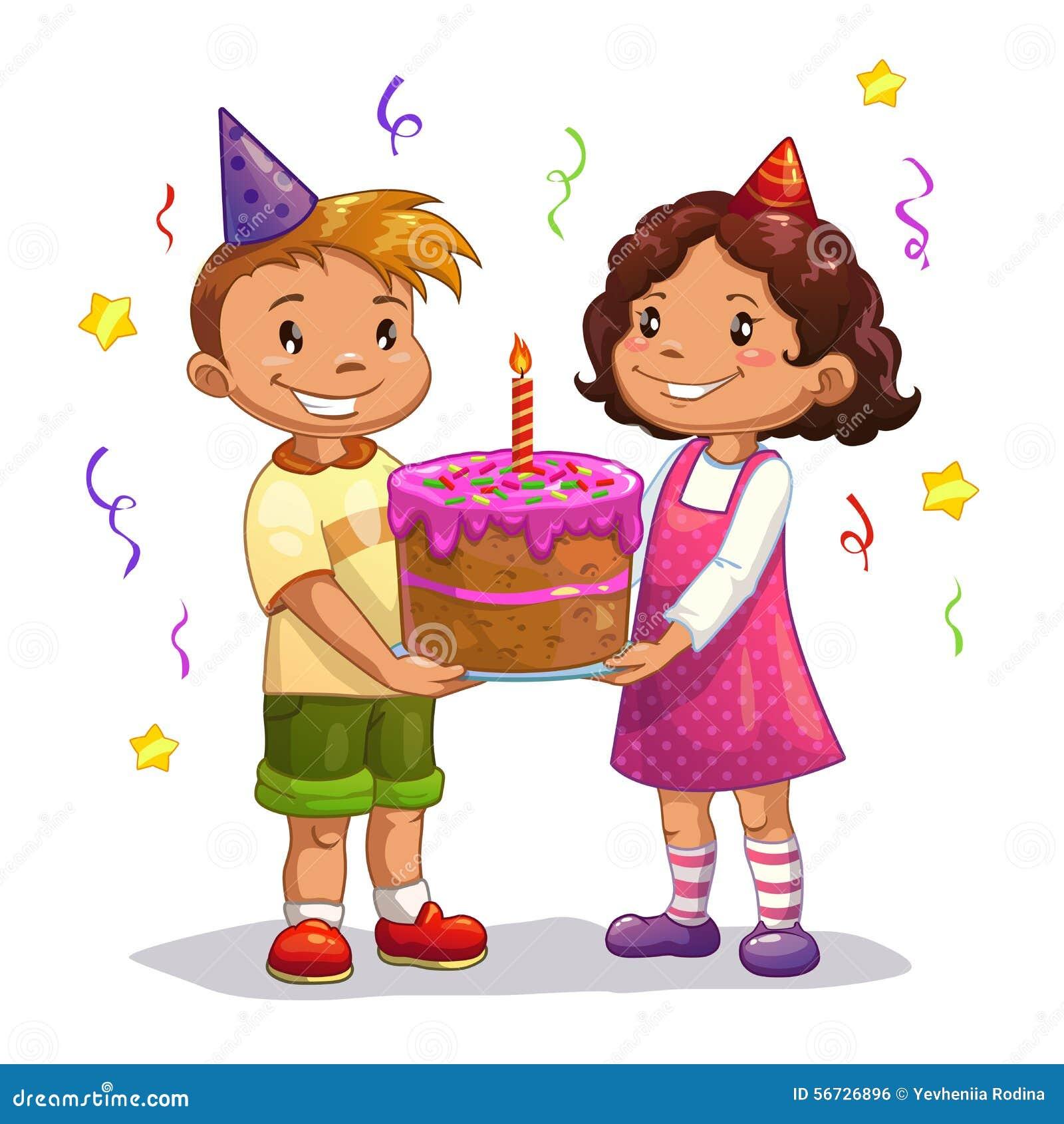 与大生日蛋糕的一点动画片孩子