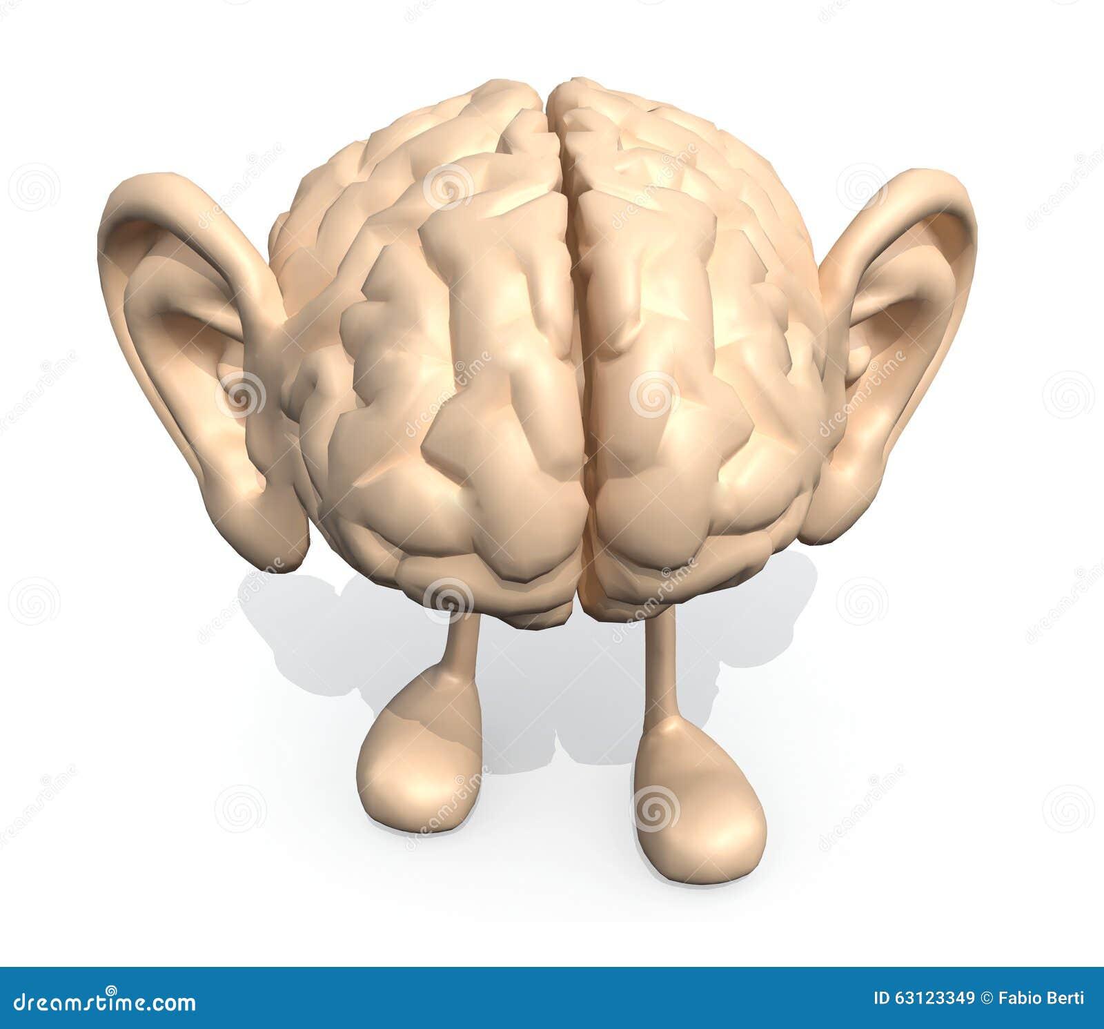 与大人脑和腿,3d的例证过程.睡不醒的烫发耳朵图片