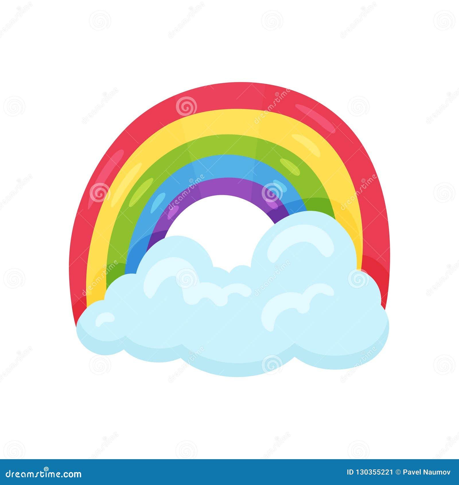 与大蓝色云彩的逗人喜爱的多彩多姿的彩虹 天气符号 儿童居室的装饰墙壁贴纸 平的传染媒介