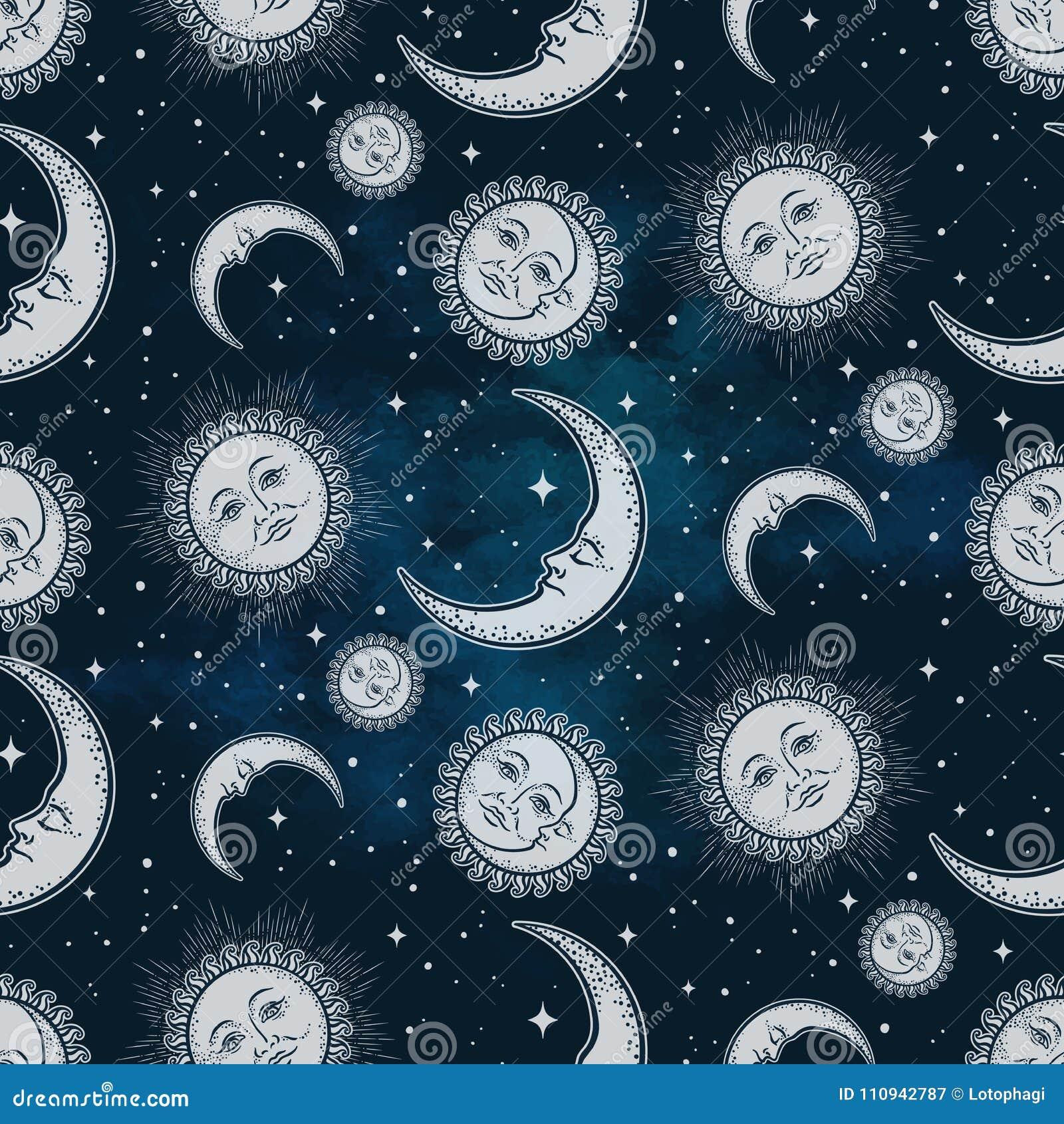 与天体-月亮、太阳和星的无缝的样式在蓝色夜空背景 Boho别致的织品印刷品,包裹pape