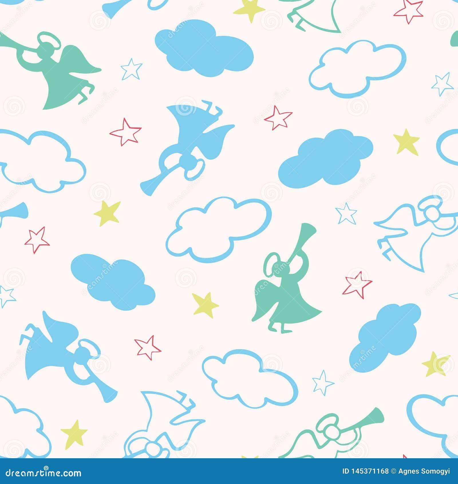与天使、喇叭、星和云彩剪影的圣诞节无缝的传染媒介样式  表面样式设计为