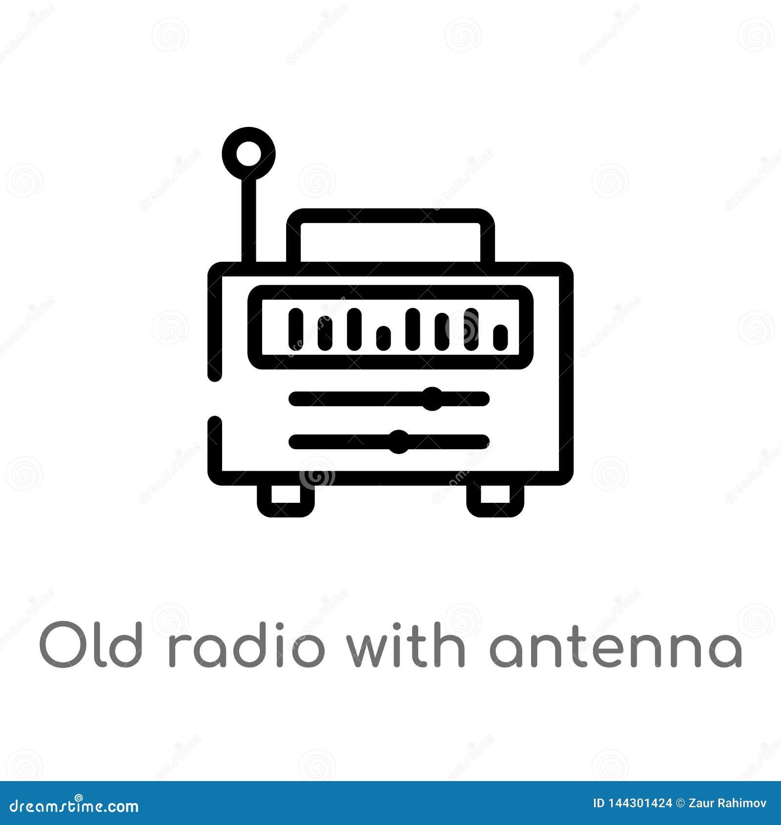 与天线传染媒介象的概述老收音机 被隔绝的黑简单的从最后glyphicons概念的线元例证