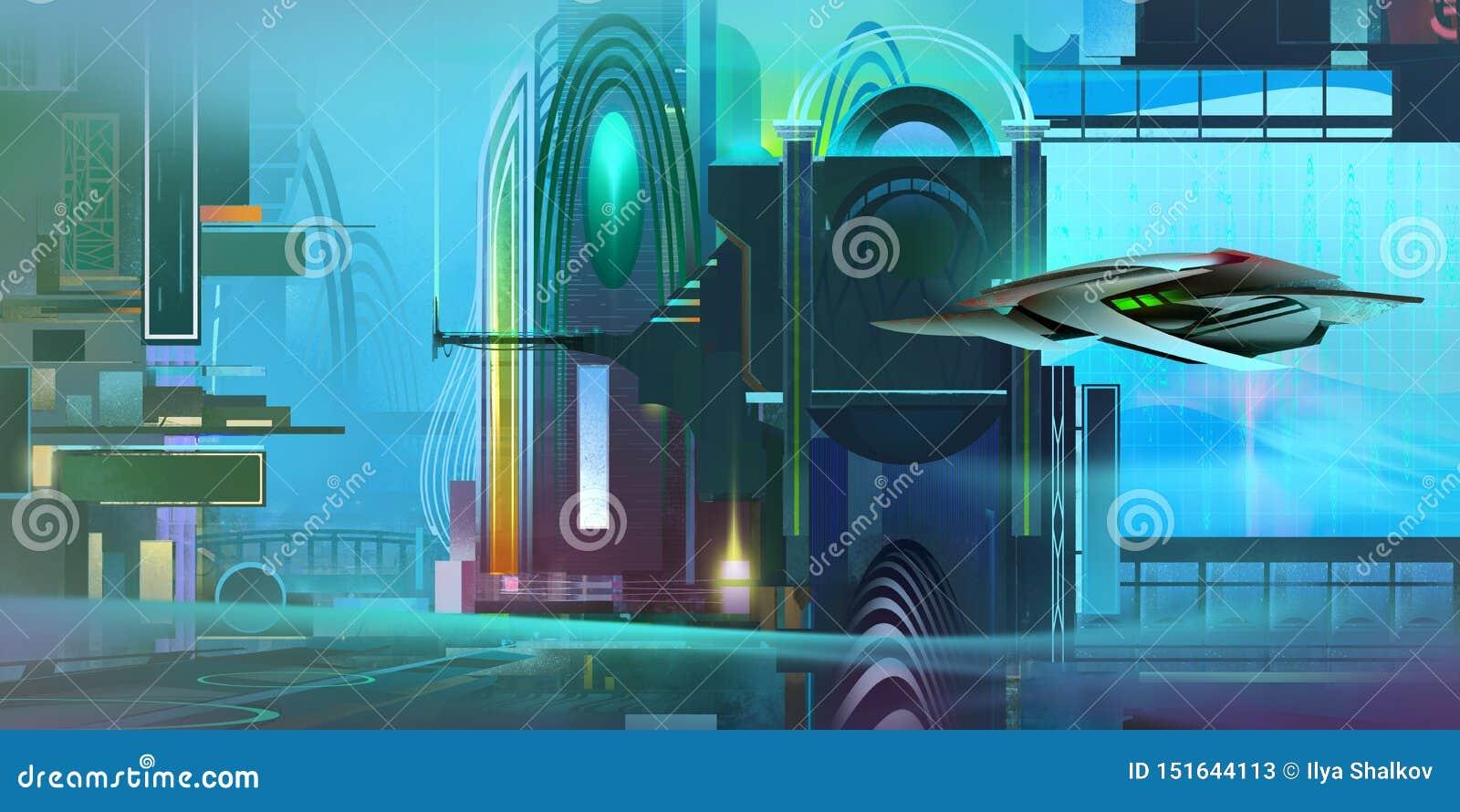 与太空飞船的被绘的五颜六色的意想不到的计算机国际庞克风景