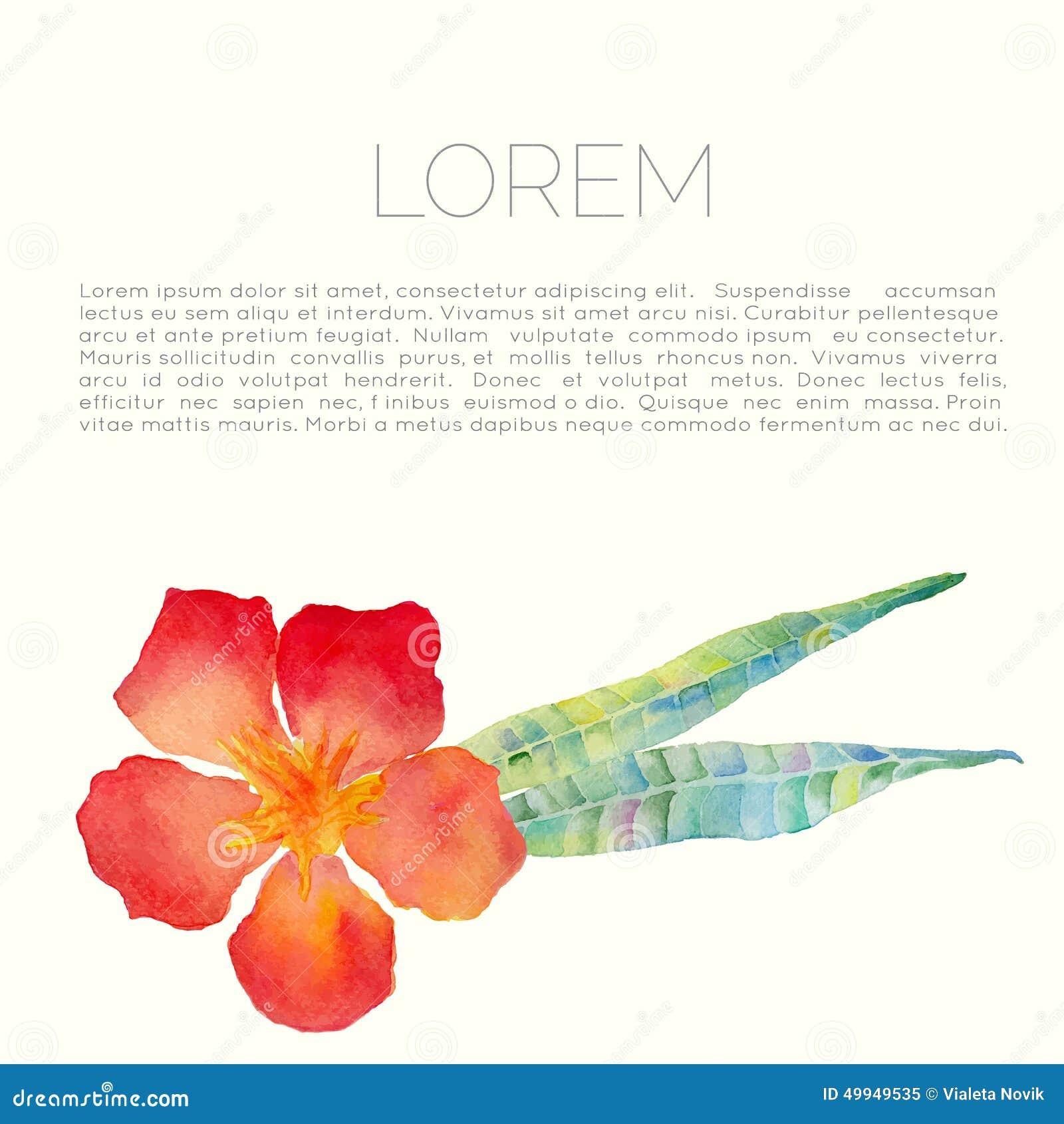 与夹竹桃叶子和花的传染媒介抽象水彩背景