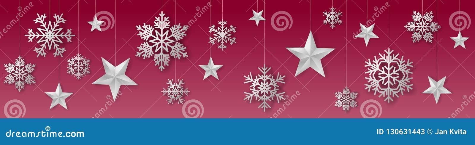 与奢侈垂悬的银色色的雪花和星的无缝的冬天圣诞节传染媒介在红色背景
