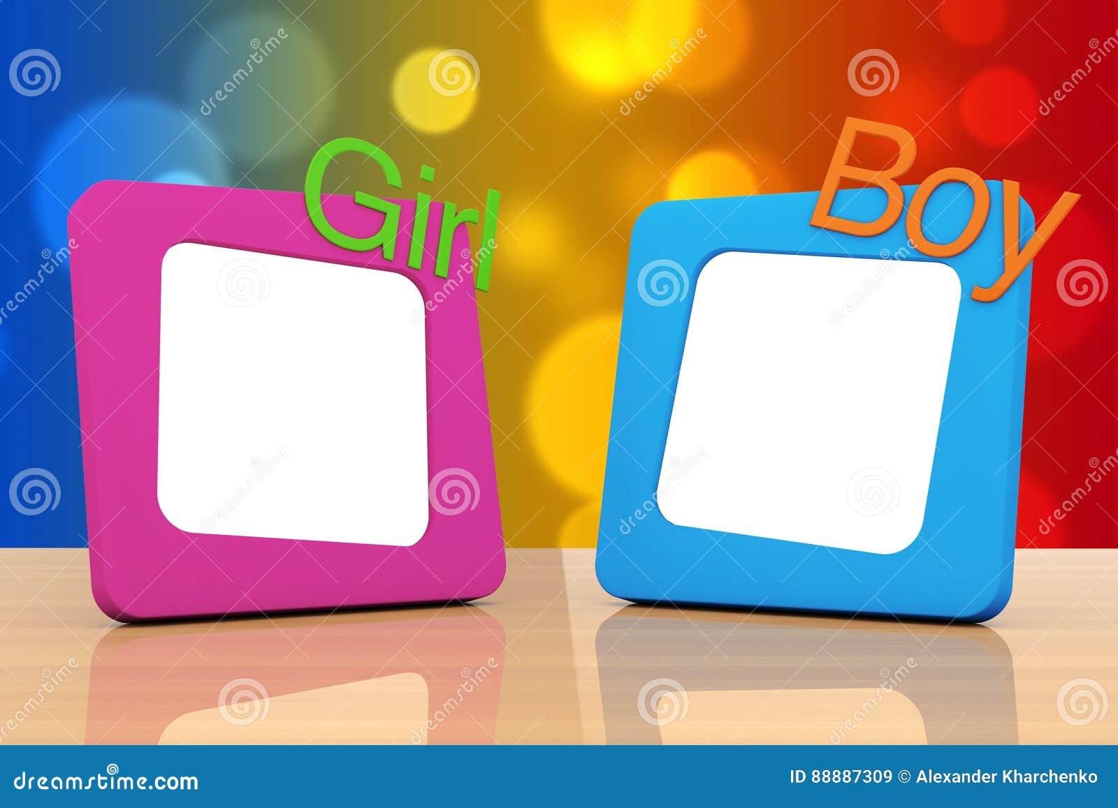 与女孩和男孩标志的照片框架 3d翻译