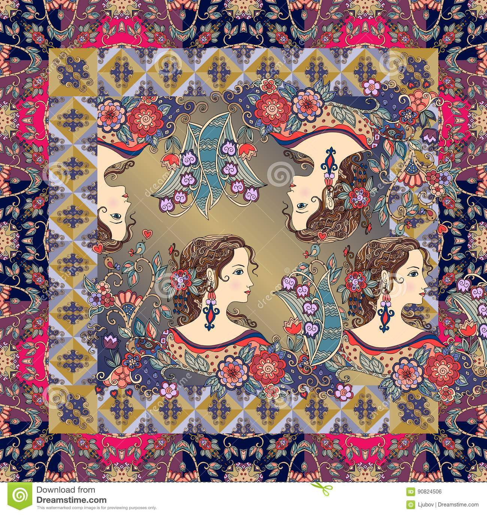 与女孩美丽的画象的好的班丹纳花绸印刷品有花的