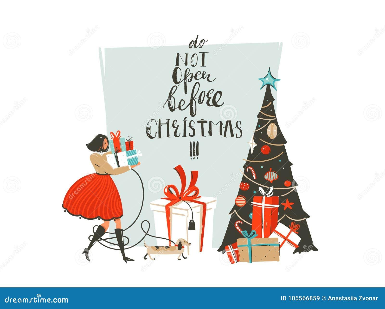 与女孩,狗,惊奇礼物盒的手拉的传染媒介摘要乐趣圣诞快乐时间动画片例证贺卡