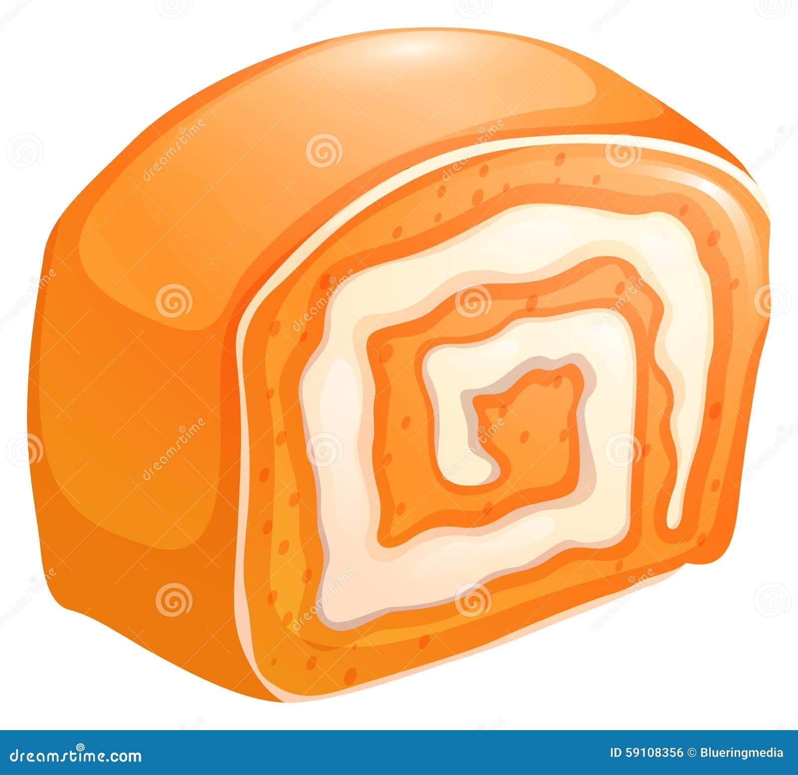与奶油的橙色蛋糕卷