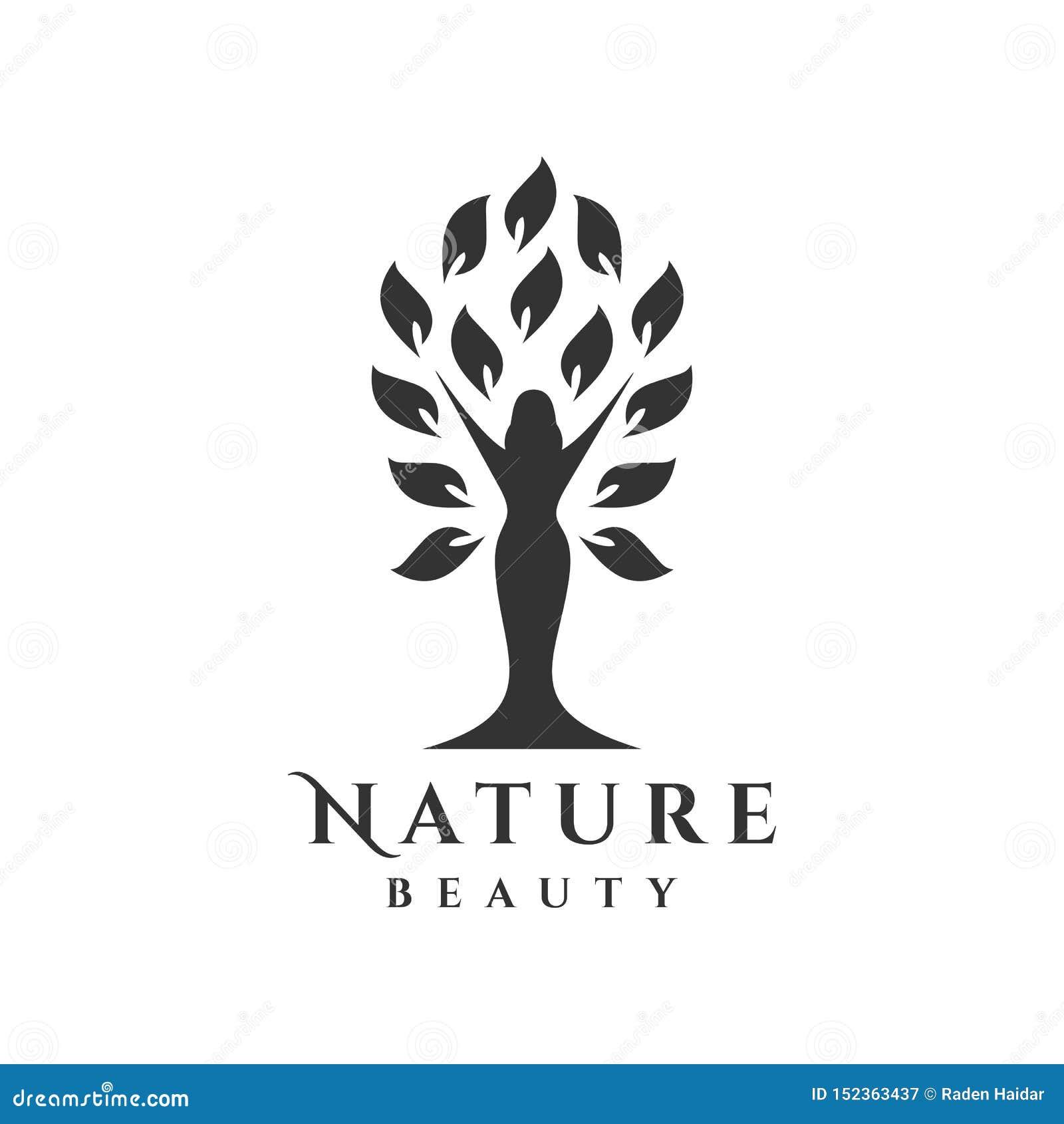 与妇女剪影的树商标