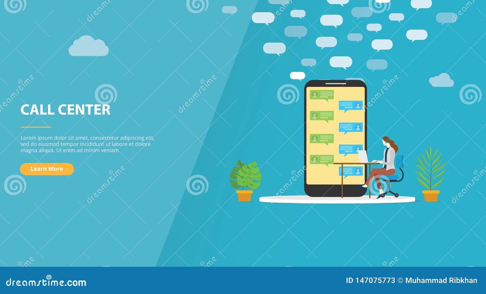 与妇女的电话中心概念叫支持网站模板横幅或登陆的主页-传染媒介