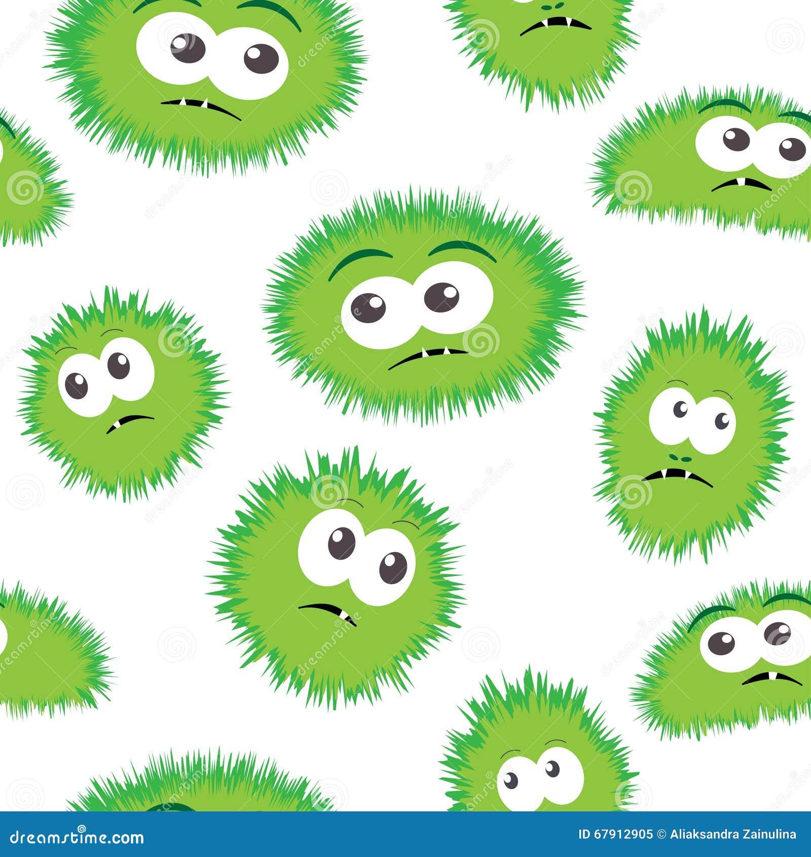 与妖怪面孔的无缝的样式细菌 导航与动画片滑稽的毒菌,逗人喜爱的妖怪的背景