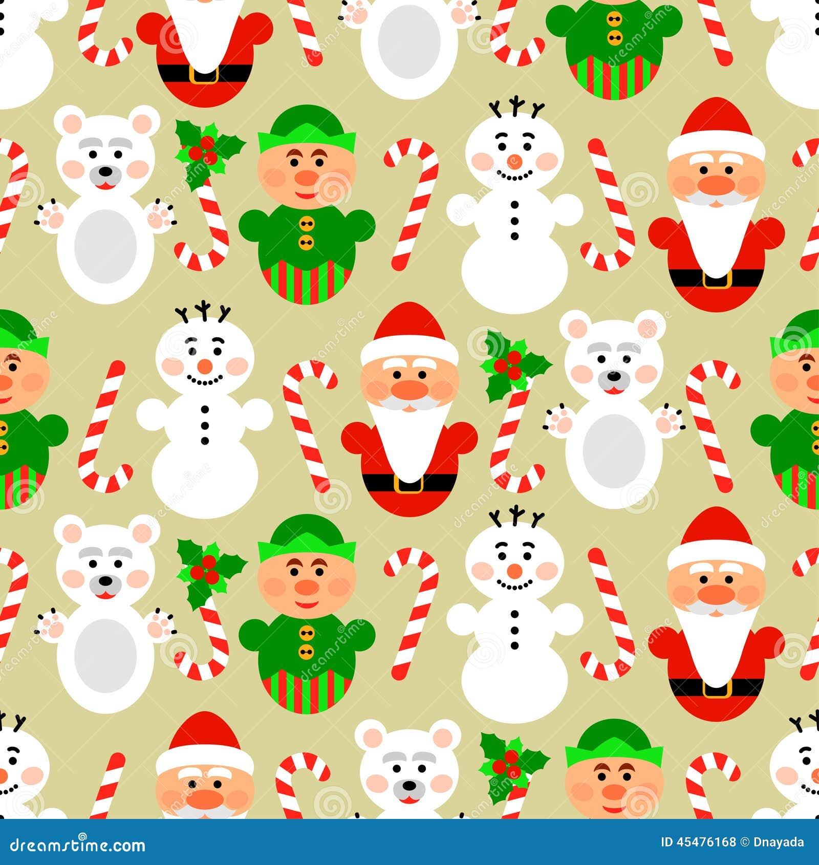 与字符的圣诞节无缝的样式,米黄