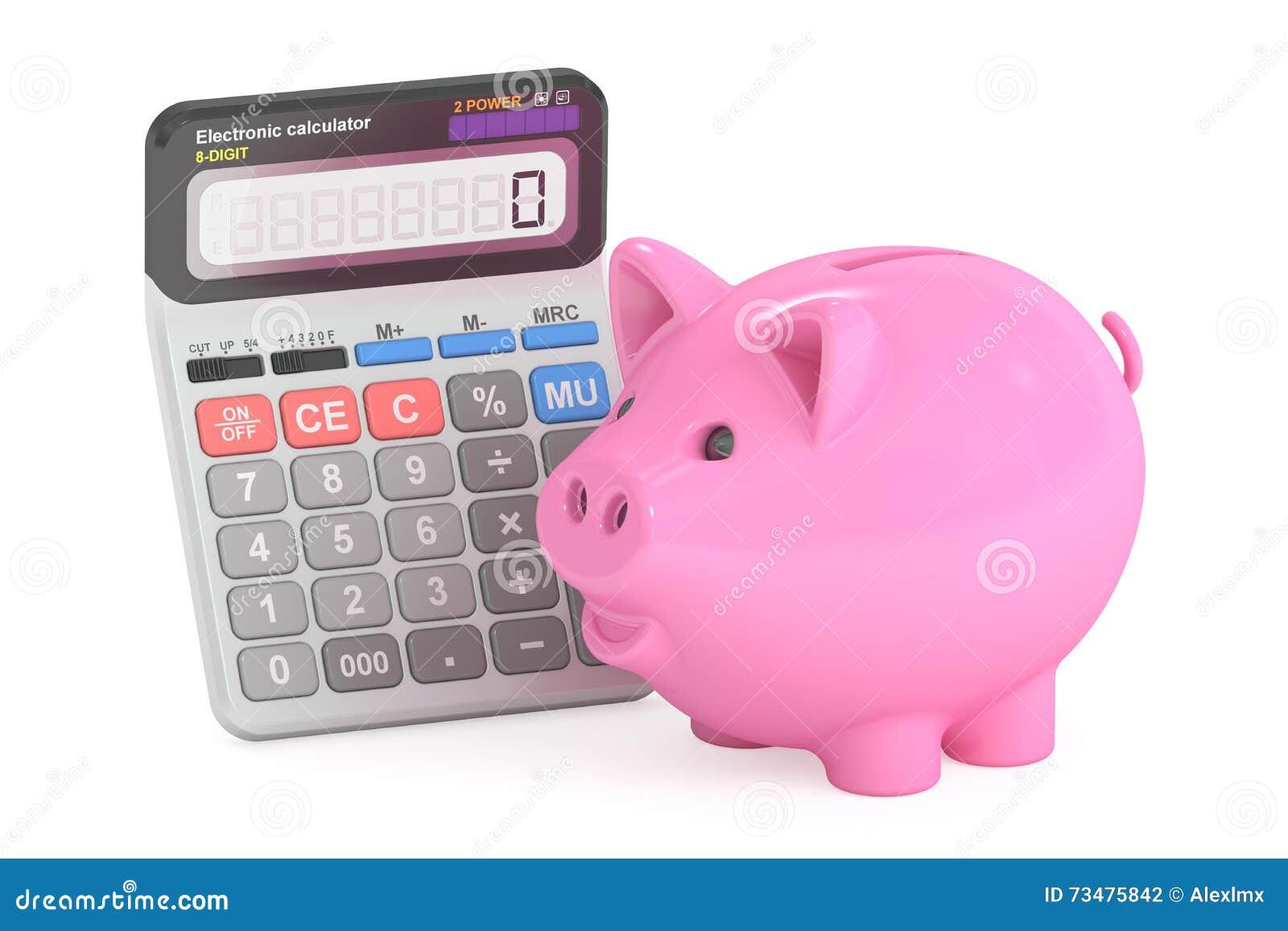 与存钱罐和计算器, 3D的储款概念翻译