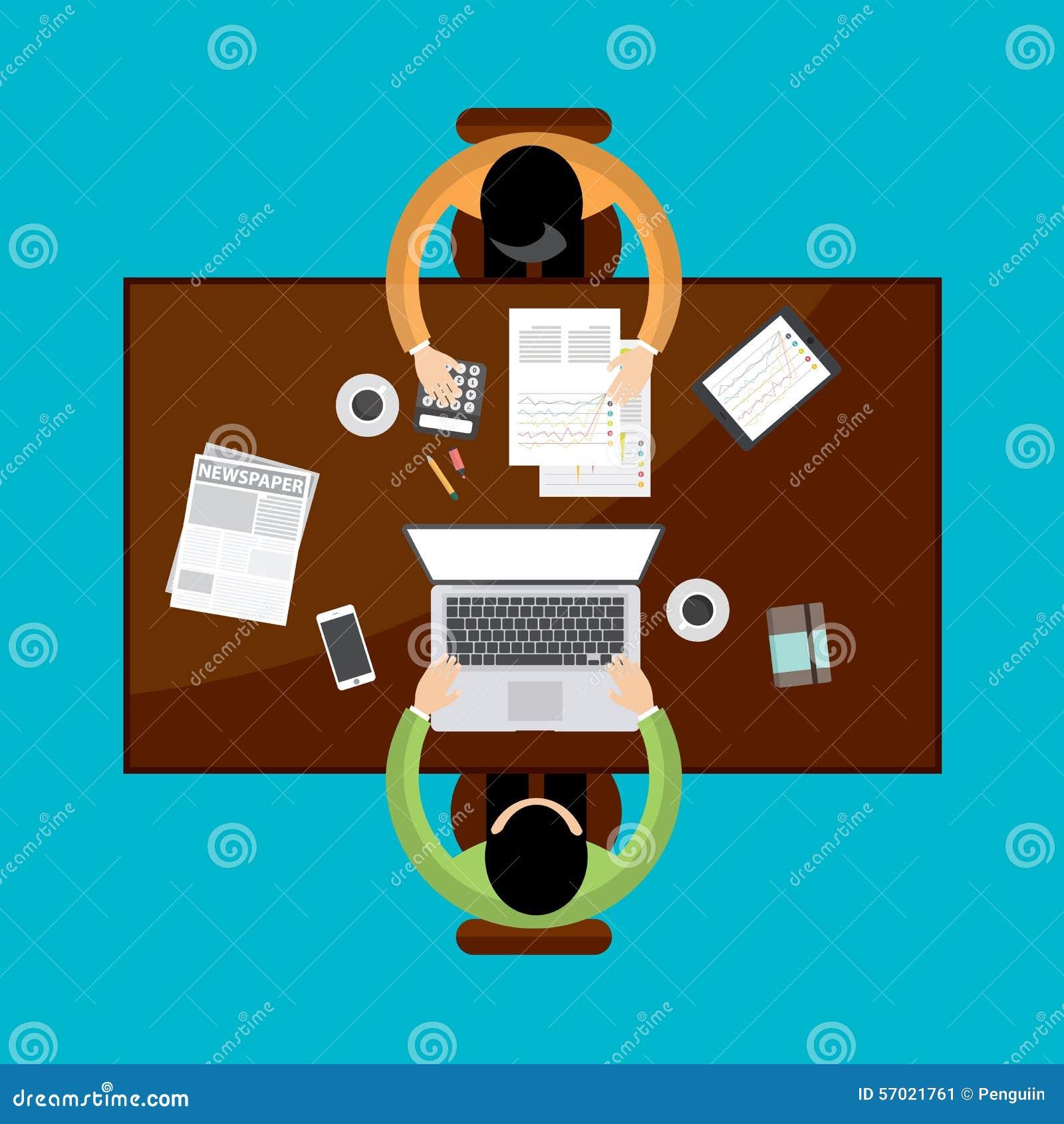 与安装在桌和工作附近的商人的配合和激发灵感概念