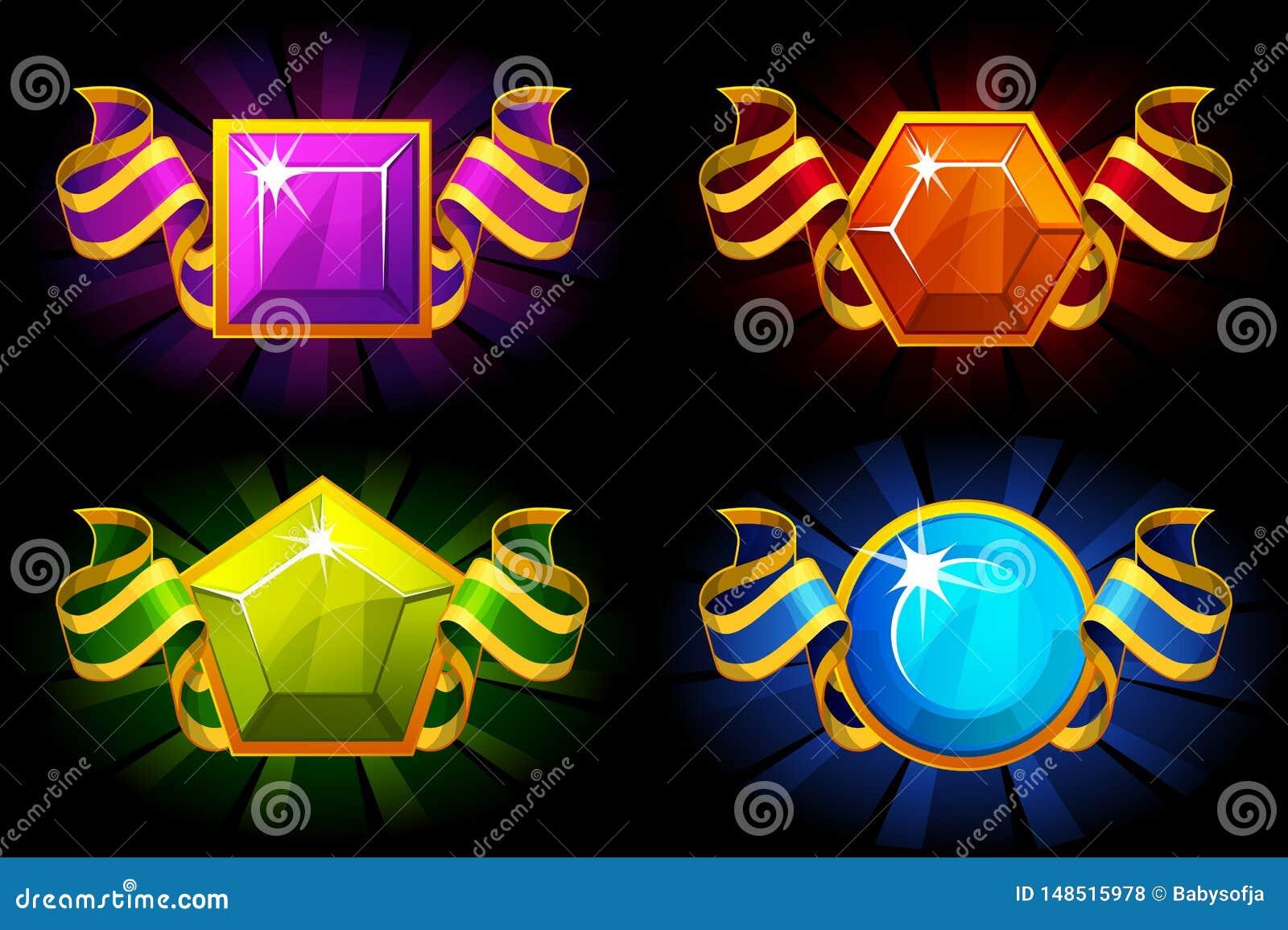 与宝石和丝带的奖在不同颜色 传染媒介UI比赛资源的动画片象