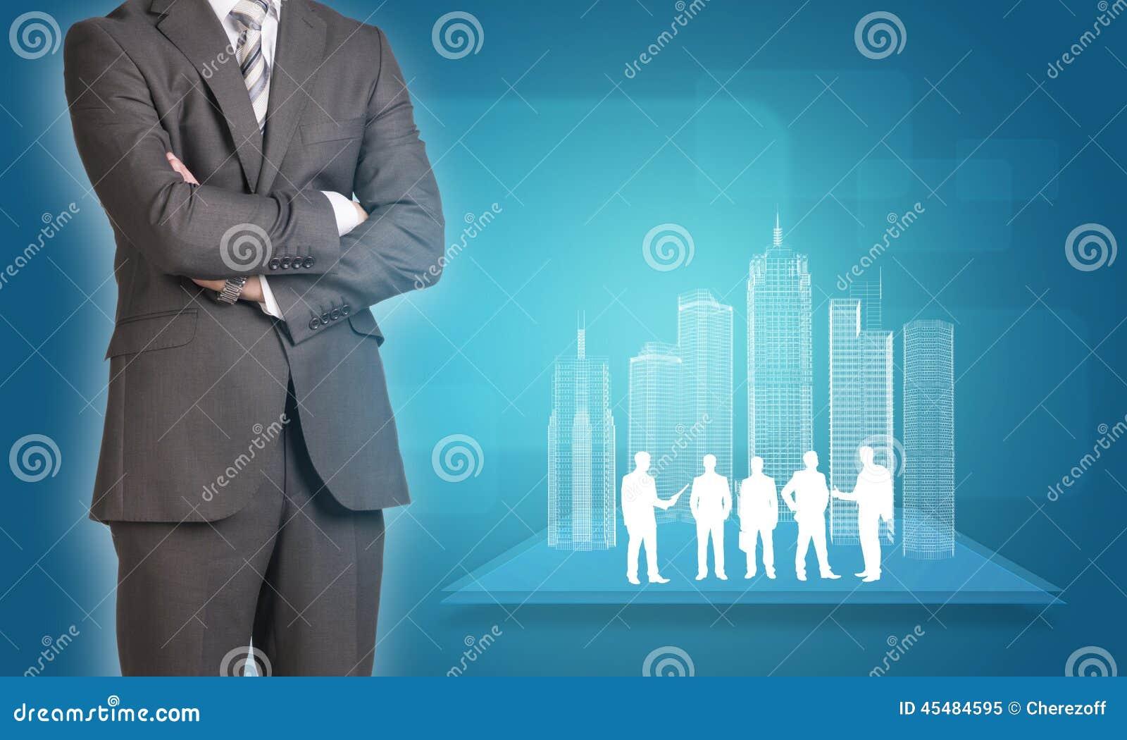 与导线框架大厦和事务的商人