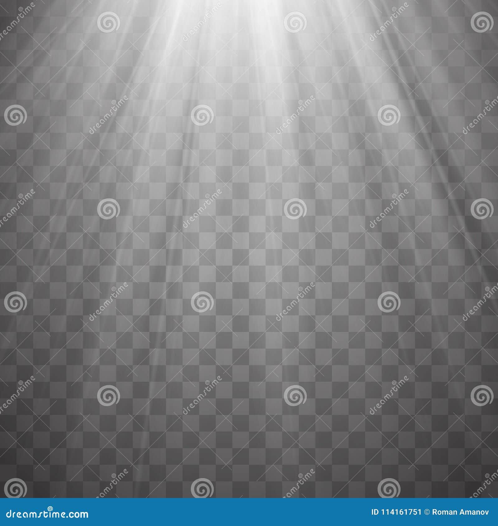 与射线的聚光灯光芒在透明背景 一刹那轻的传染媒介