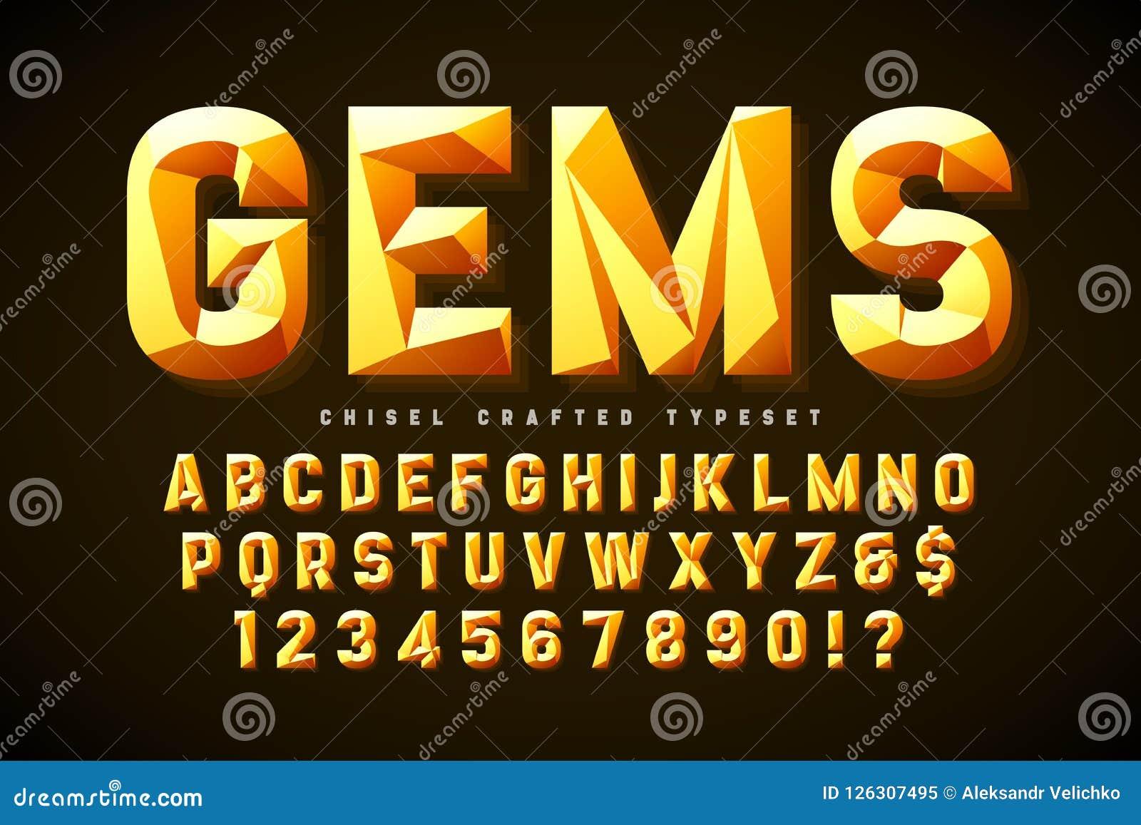 与小平面、字母表、信件和数字的水晶显示字体
