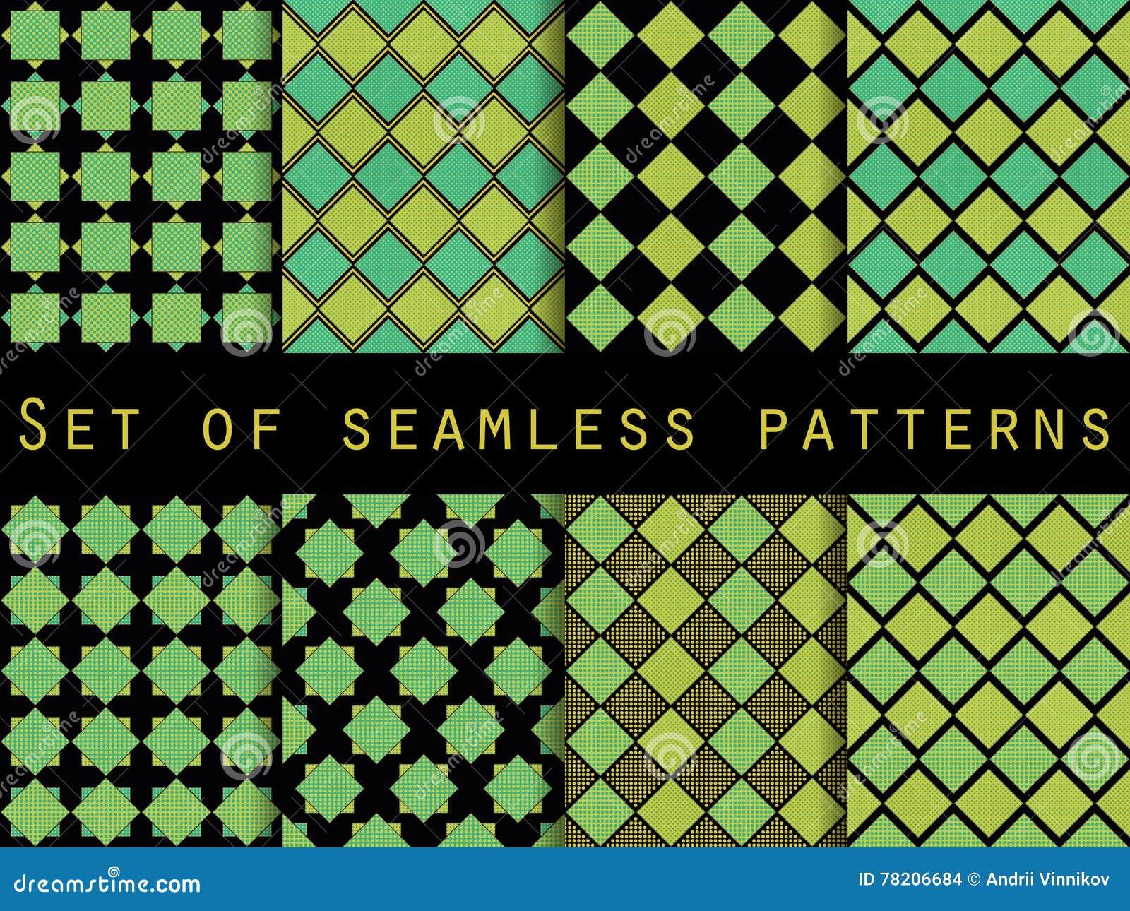 与小点和条纹的无缝的方格的样式 背景被设置的向量