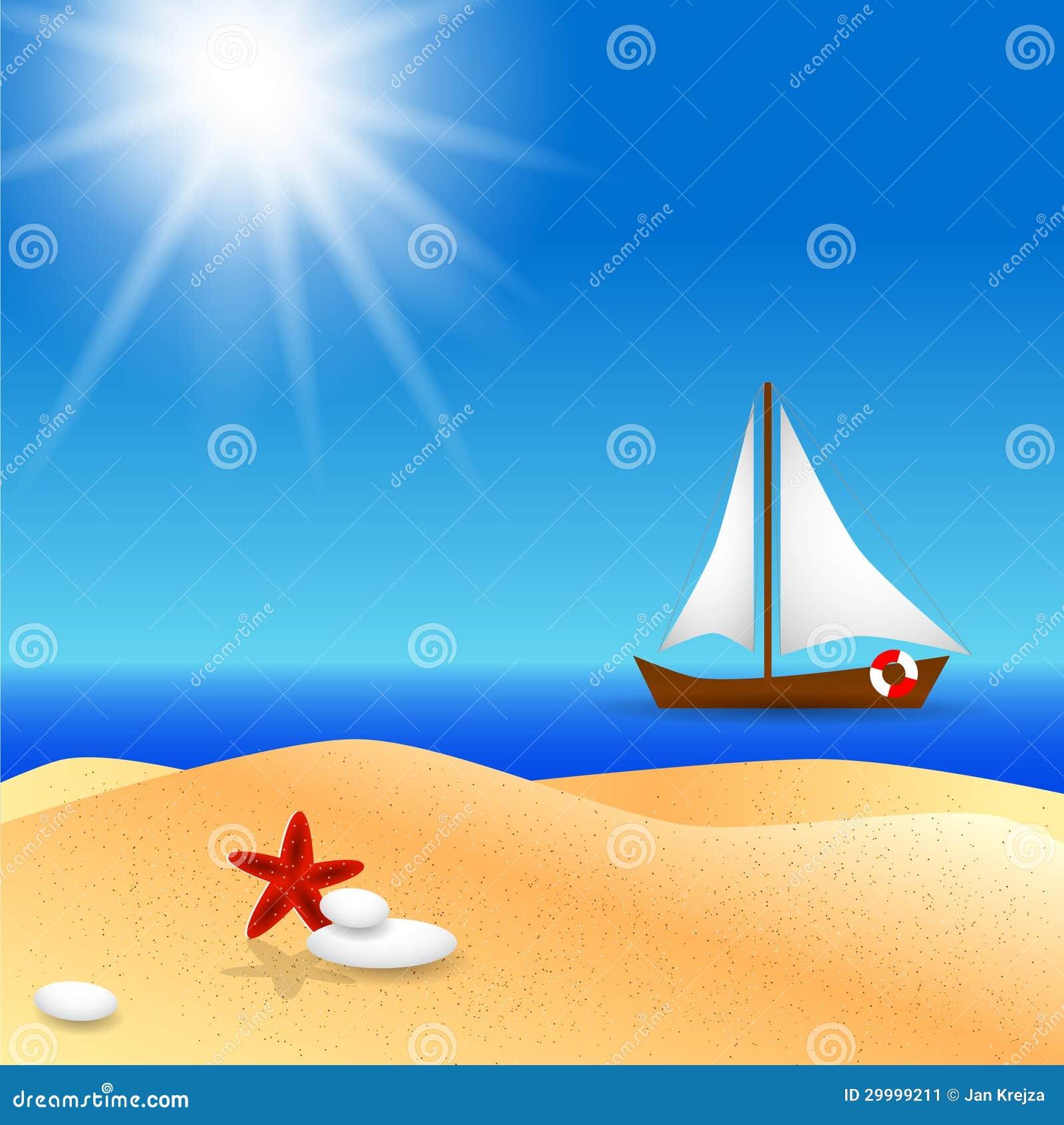 与小船的偏僻的海滩在海和阳光.图片