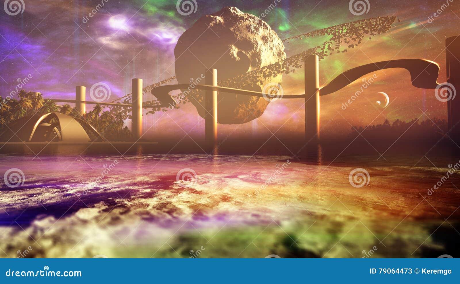 与小行星圆环的月亮在外籍人行星天际