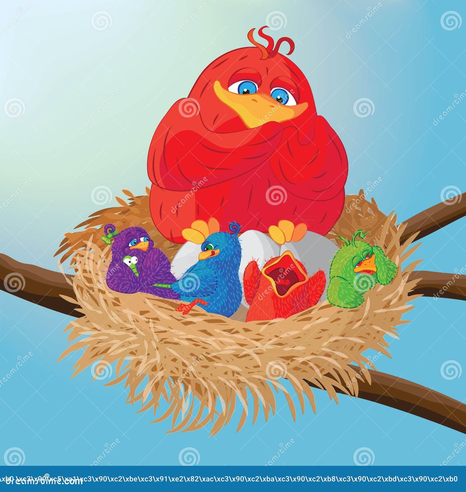 与小鸡的鸟在巢传染媒介例证.