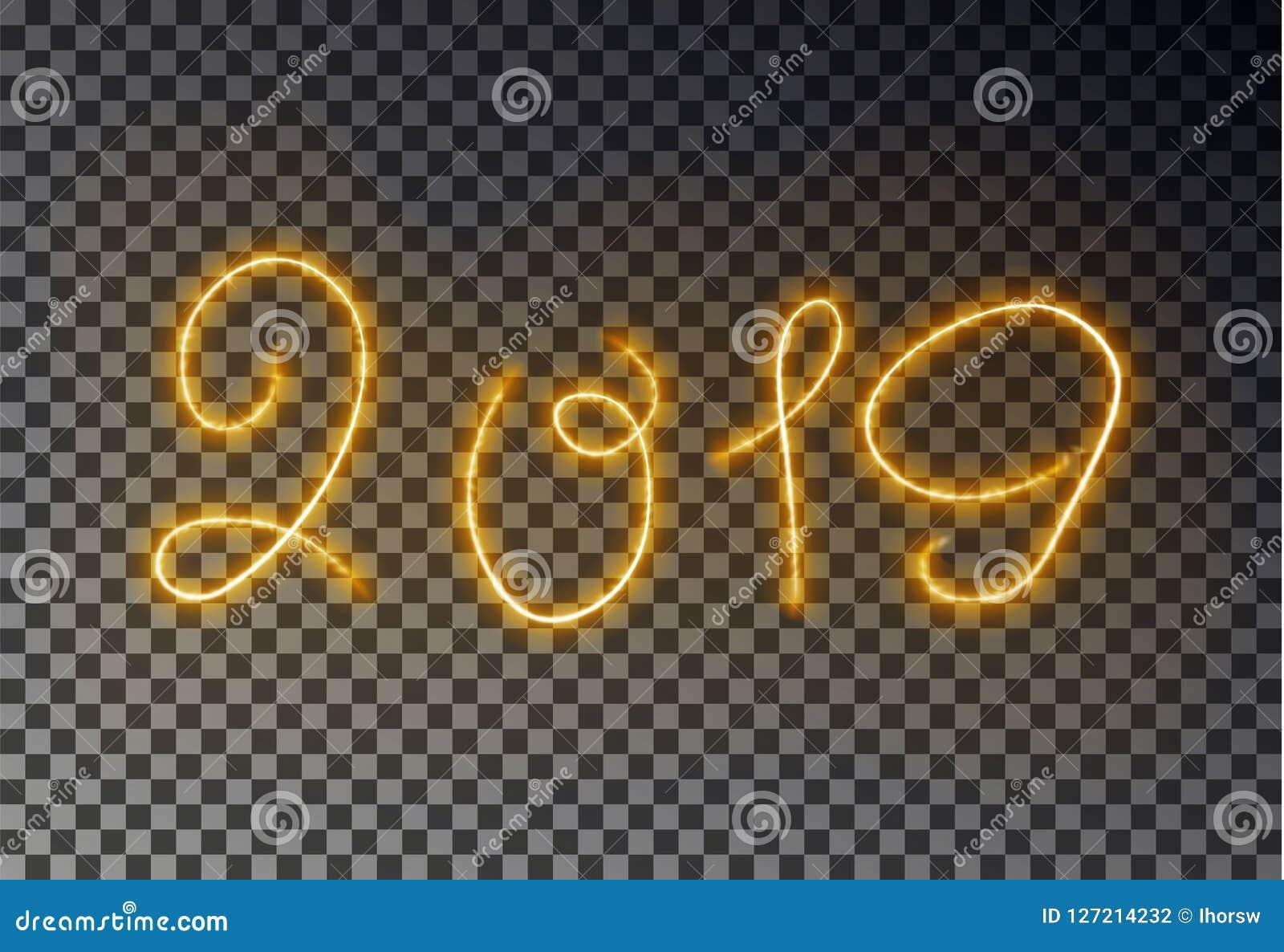 与尘土发光的不可思议的黄色颜色作用的愉快的2019新年灯光管制线被隔绝的对透明