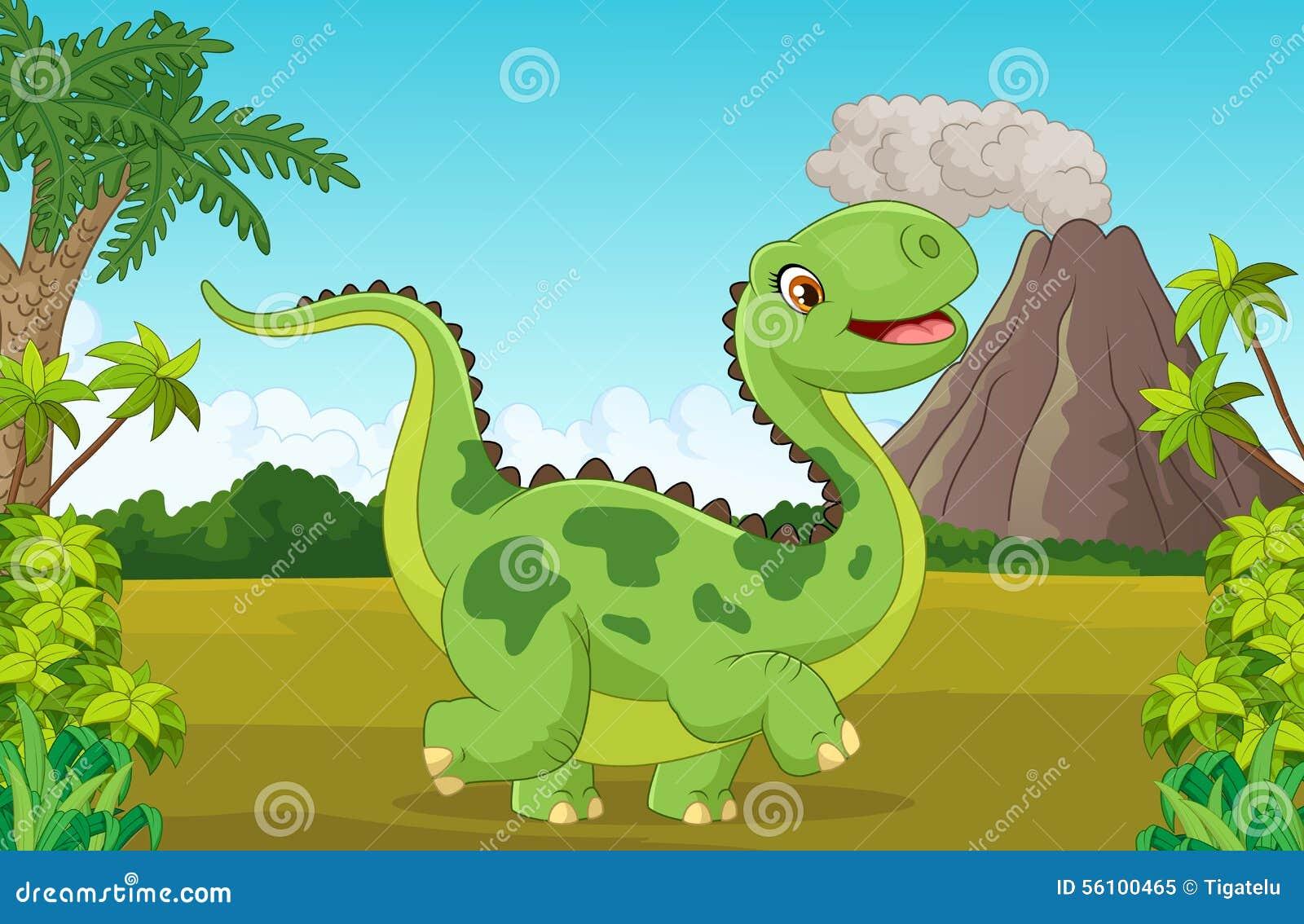 动画片愉快的恐龙的例证与山的.图片