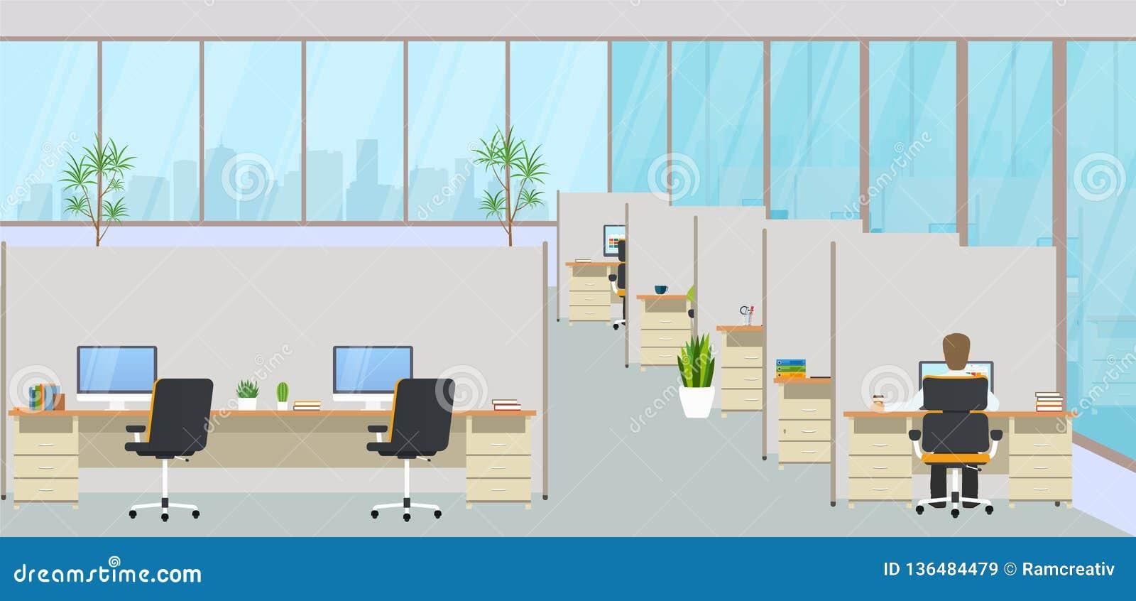 与工作场所和雇员的现代办公室中心 共同工作的空的工作区