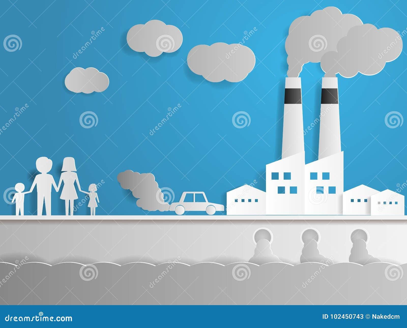 与工厂的空气和水污染